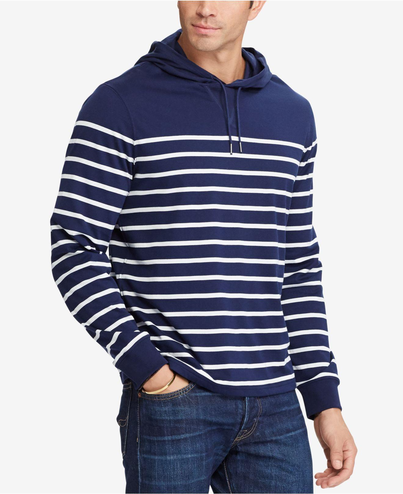 lyst polo ralph lauren men 39 s big tall striped pima cotton jersey hoodie in blue for men. Black Bedroom Furniture Sets. Home Design Ideas