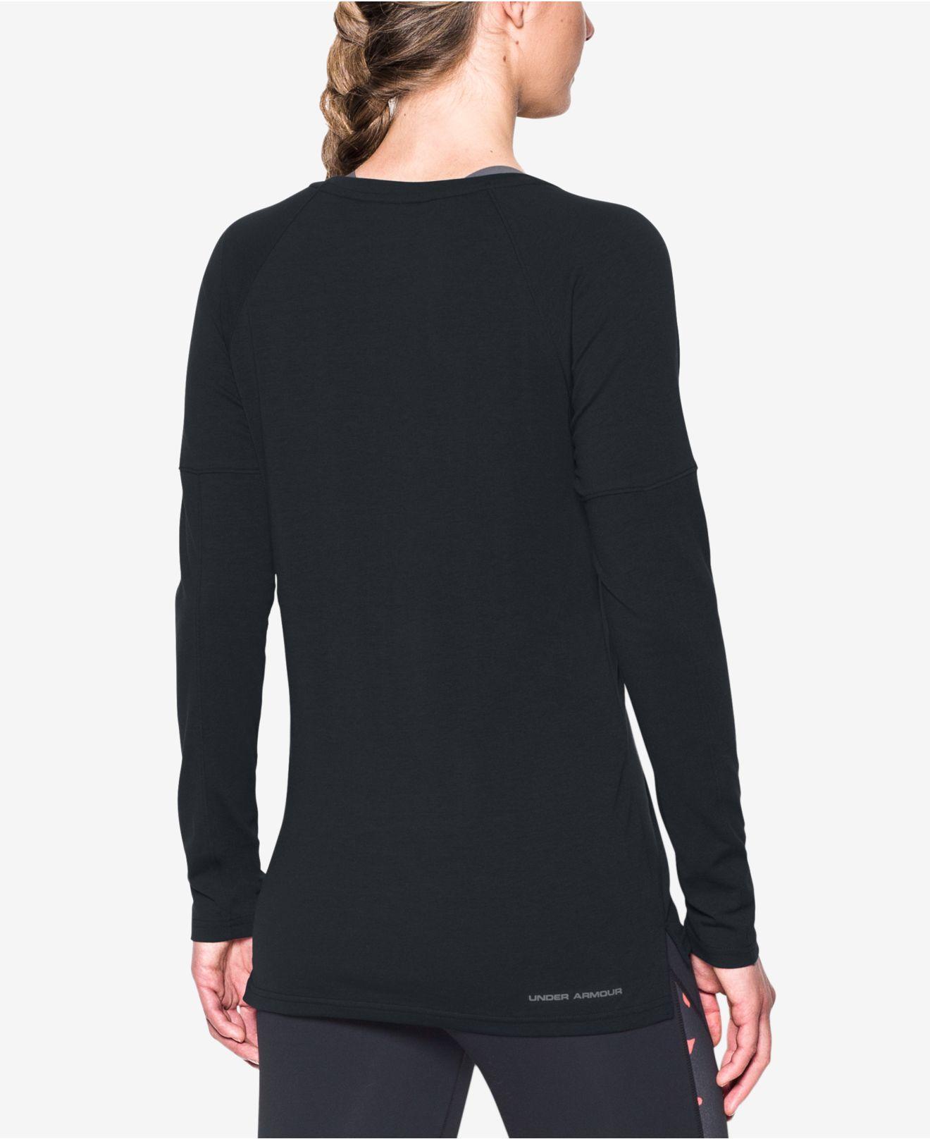 Lyst under armour favorite long sleeve t shirt in black for Yellow under armour long sleeve shirt