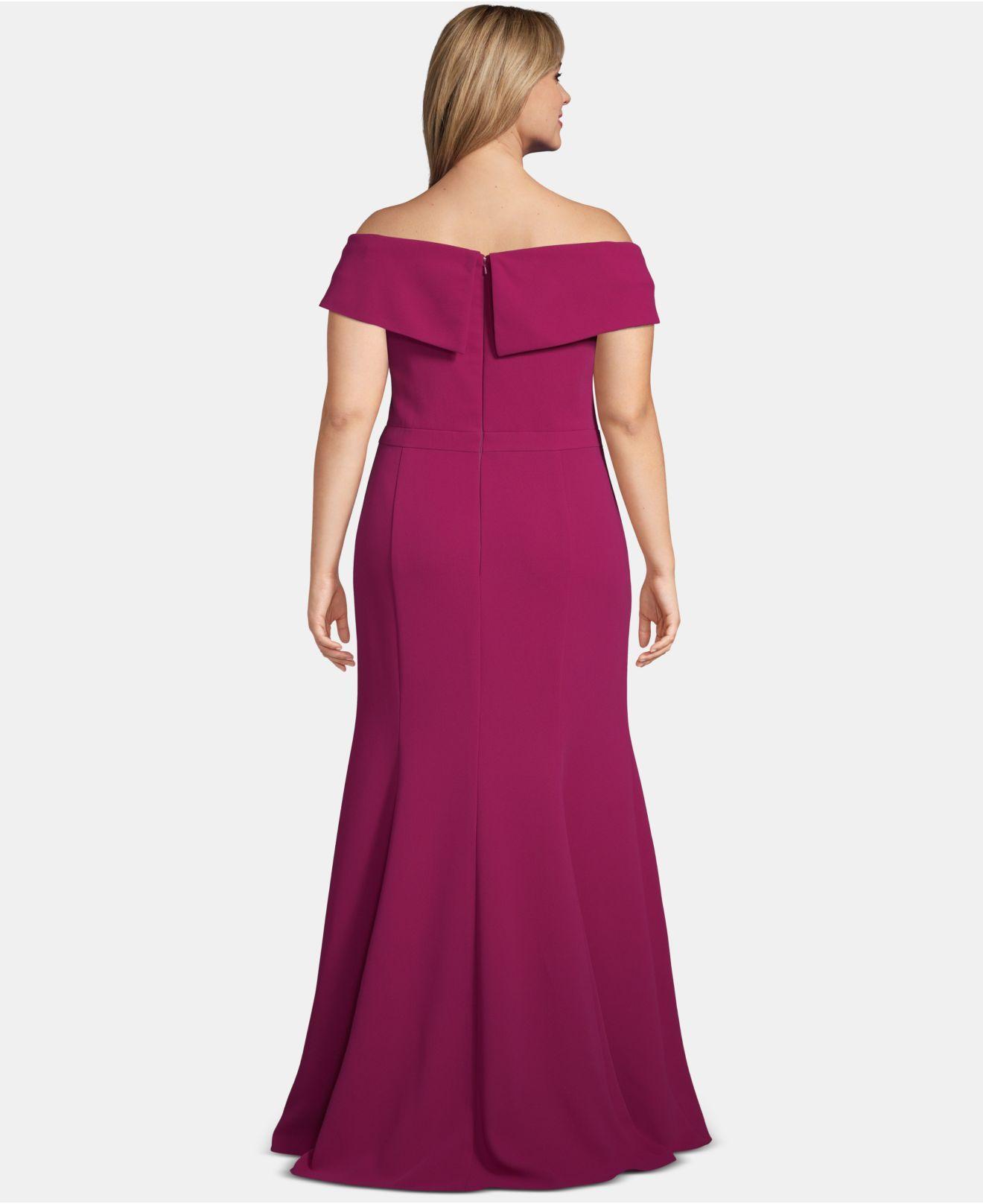 197d5d36 Lyst - Xscape Plus Size Off-the-shoulder Slit Gown in Purple