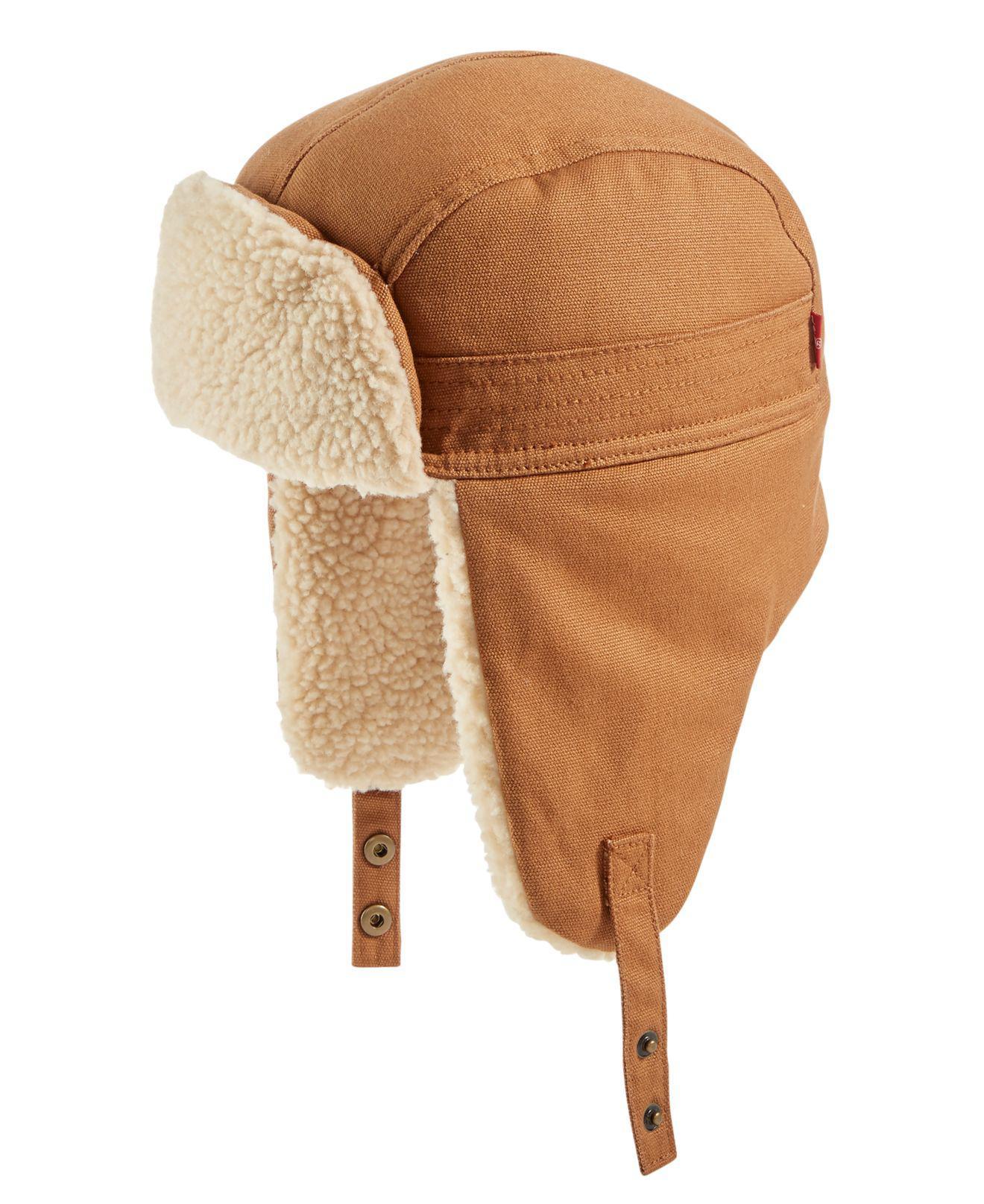 Lyst Levi S Men Waxed Canvas Fleece Lined Trer Hat In Brown f1e8b72132a
