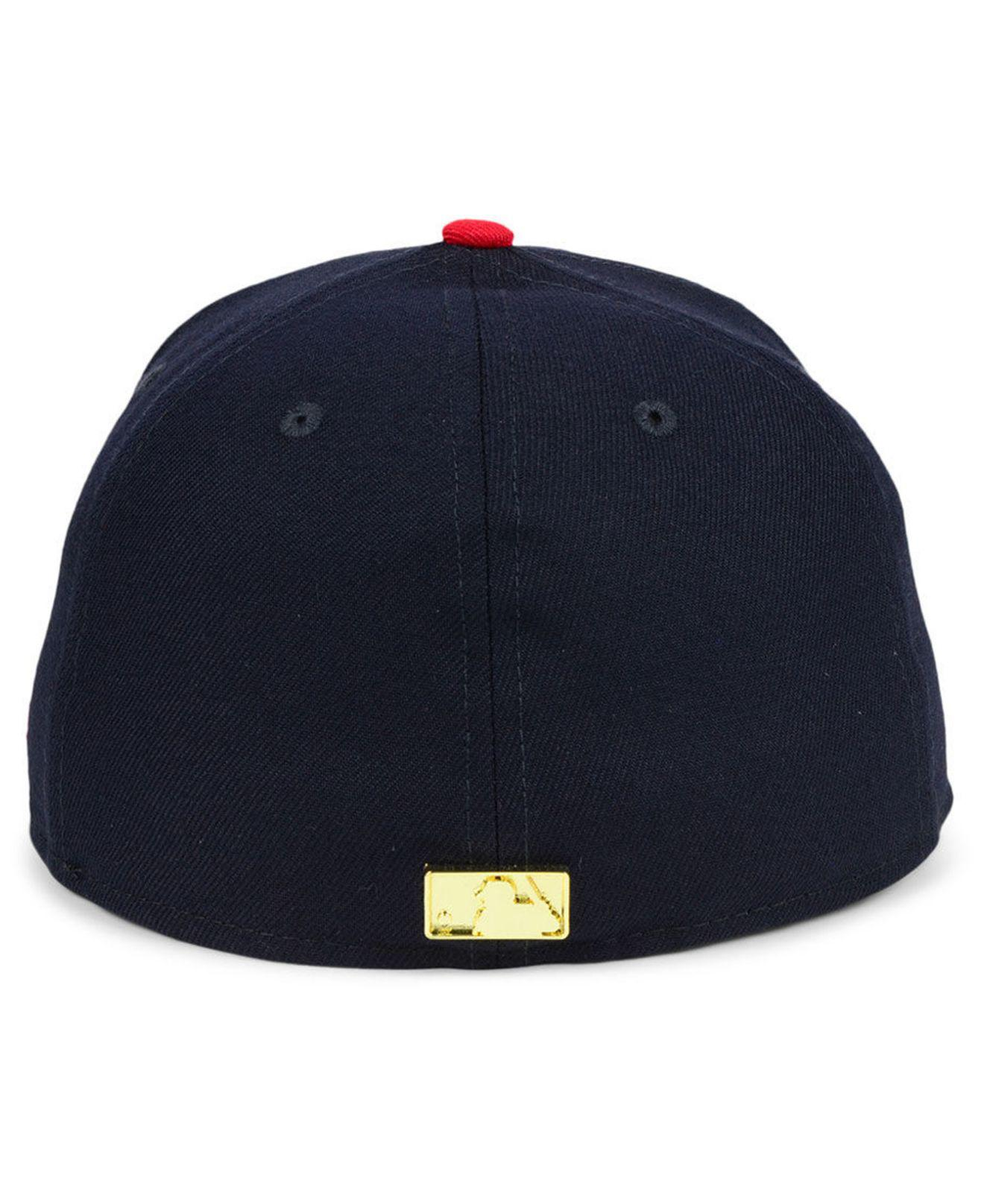 official photos 5a9c5 5aca0 promo code for lyst ktz boston red sox golden finish 59fifty fitted cap in  blue 8e3b8