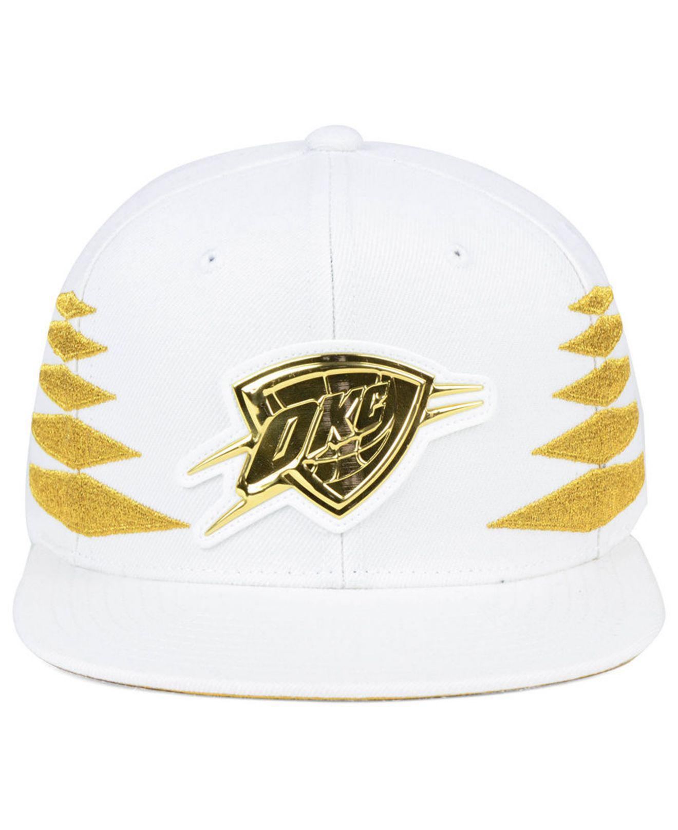 best service 87bd7 c37be ... best price lyst mitchell ness oklahoma city thunder gold diamonds  snapback cap in metallic for men