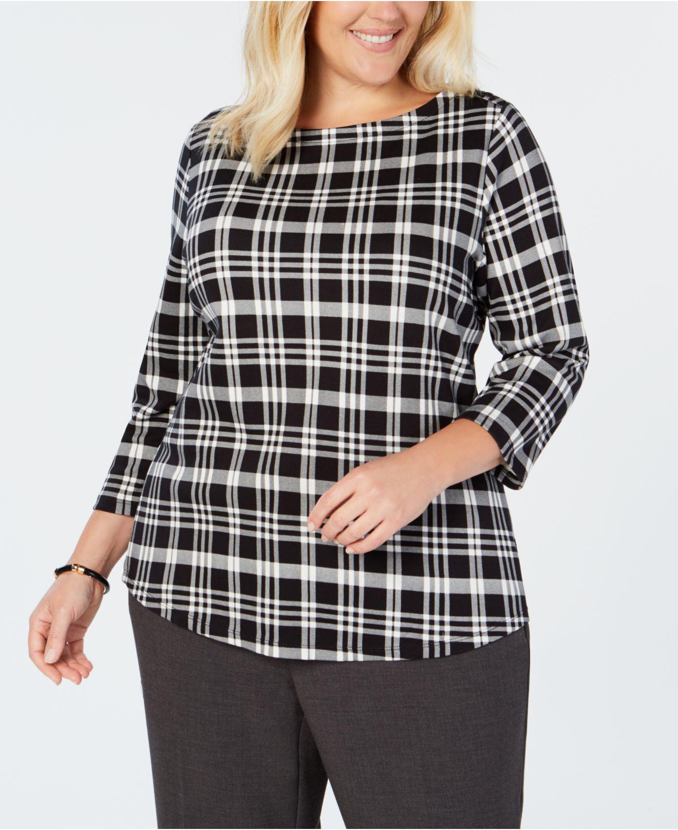 6442dc909e6 Charter Club. Women s Black Plus Size Cotton Printed T-shirt ...