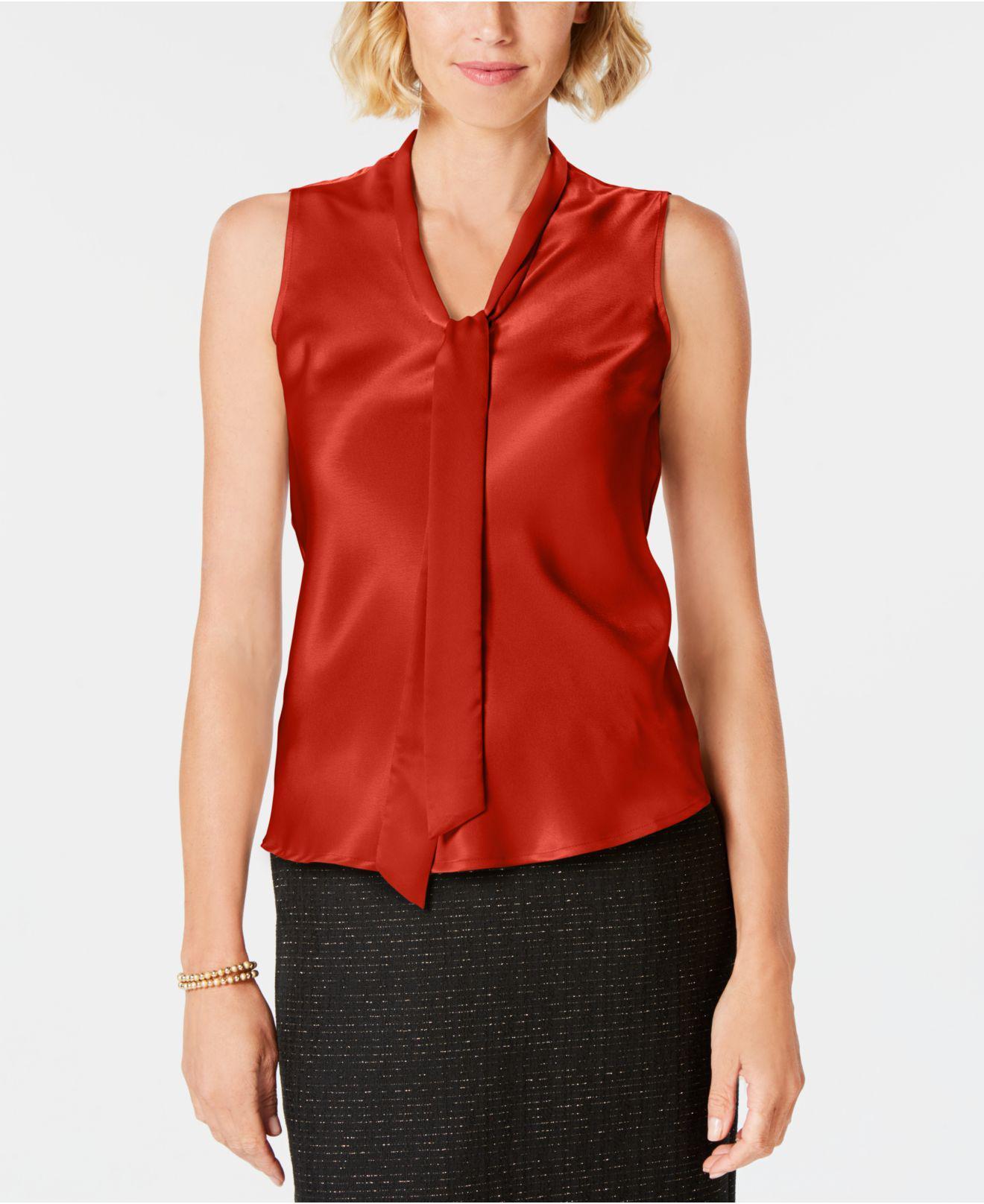 ed789ac0574e7 Lyst - Kasper Tie-neck Sleeveless Blouse in Red