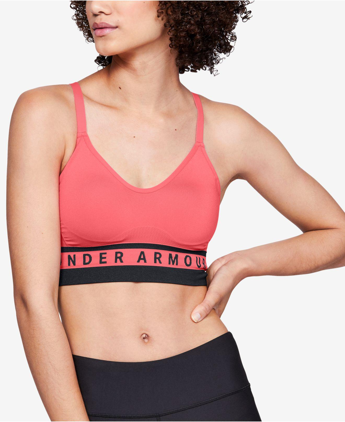 80bc7d350c8f2 Lyst - Under Armour Seamless Strappy-back Low-impact Sports Bra ...