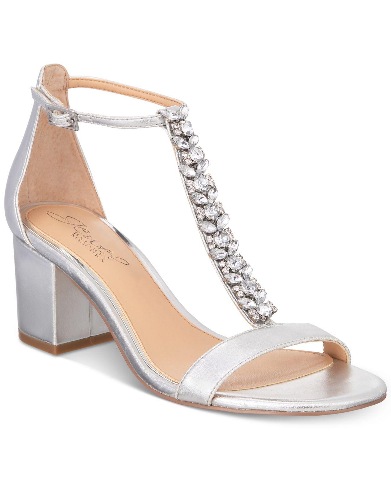Badgley Mischka Lindsey Block-Heel Evening Sandals Women's Shoes F1UCm