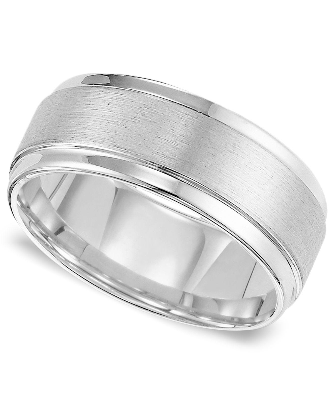 Triton Metallic Men S White Tungsten Carbide Ring Comfort Fit Wedding