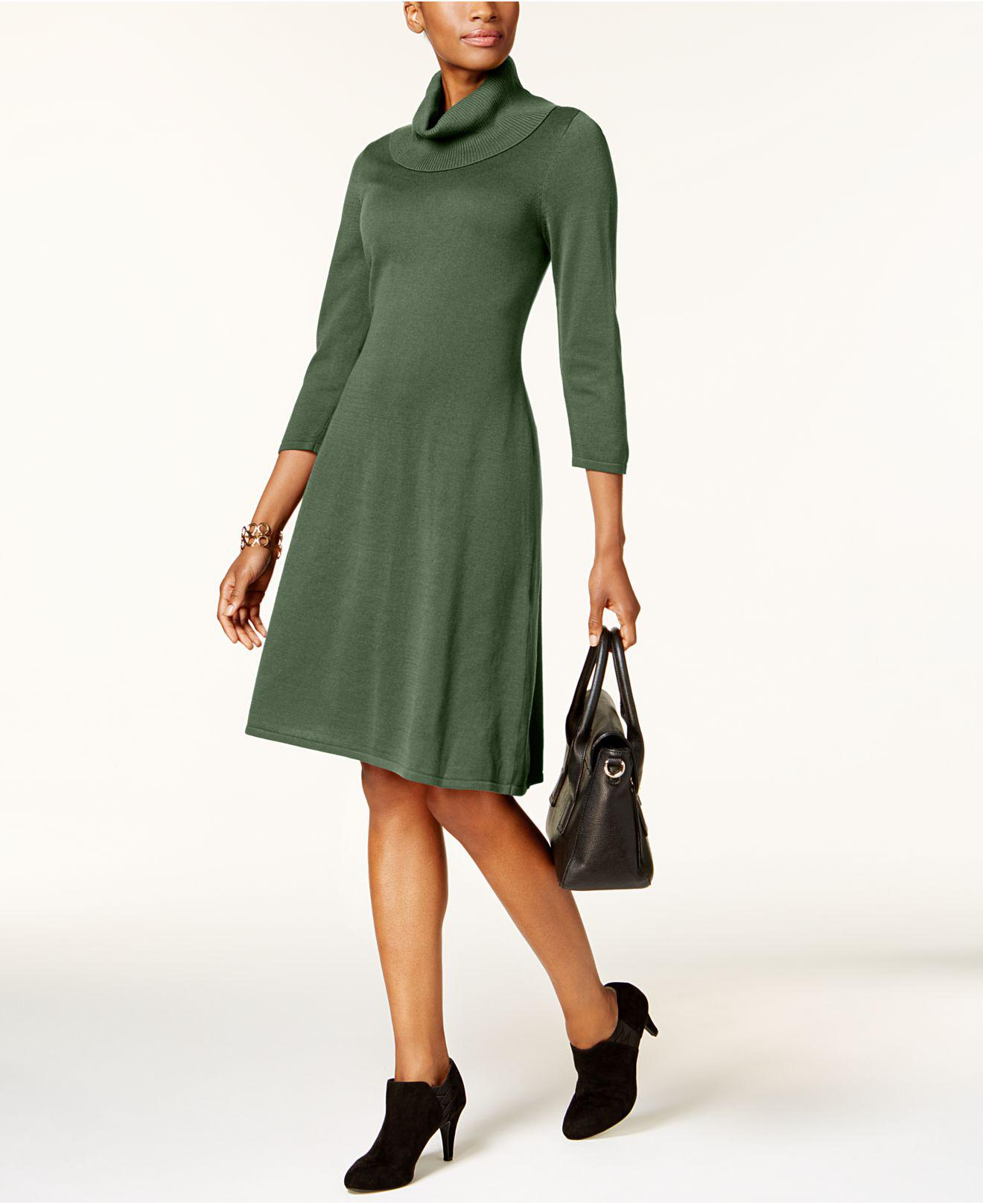 Nine west Cowl-neck Sweater Dress in Green | Lyst