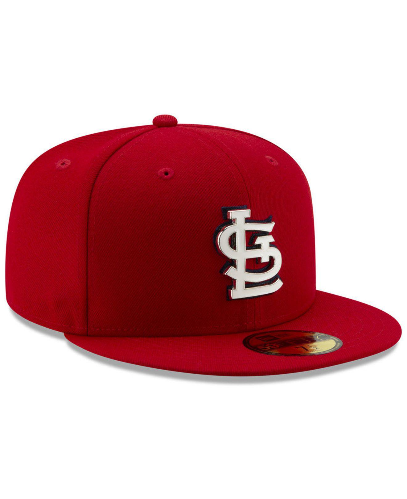 timeless design a0507 bbb4d KTZ St. Louis Cardinals Metal   Thread 59fifty-fitted Cap in Red for ...