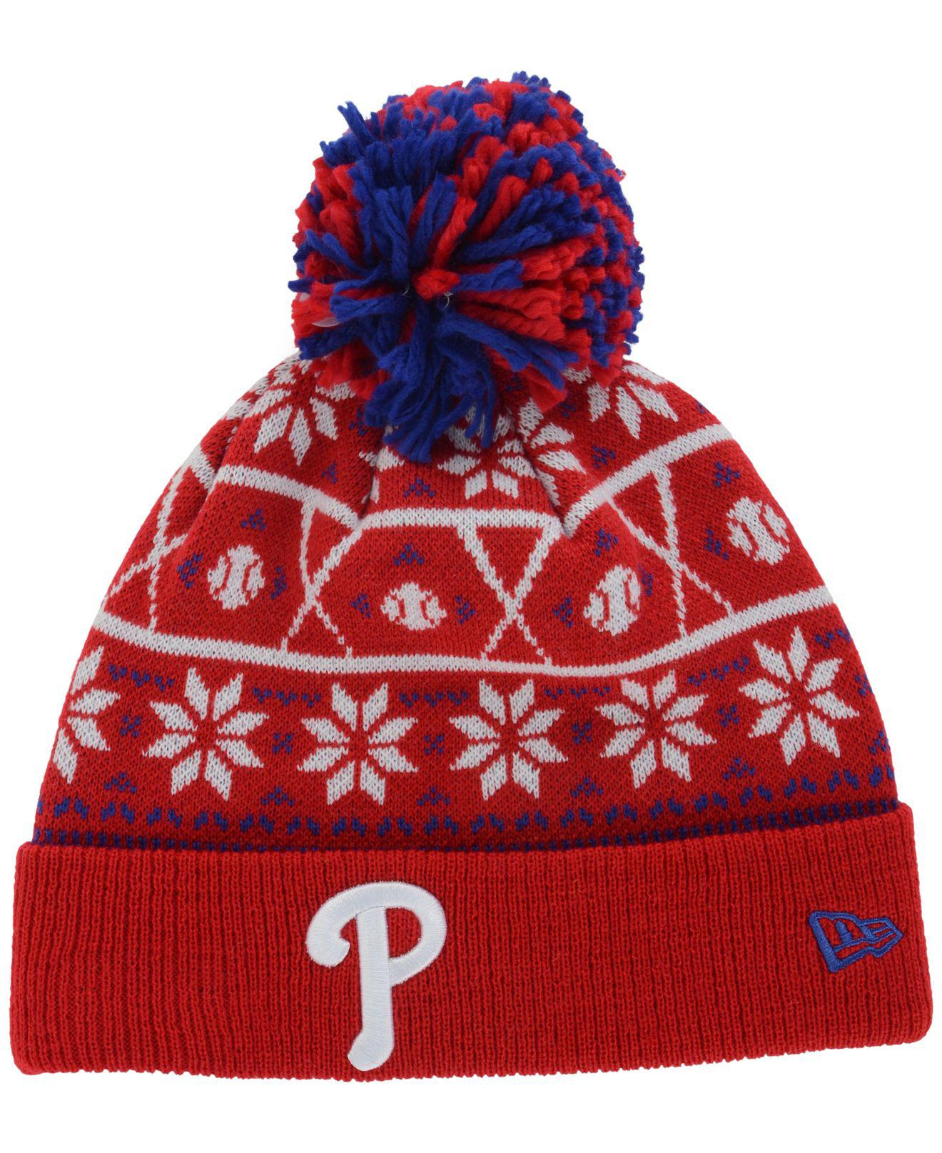 c1d3360a1 Lyst - KTZ Philadelphia Phillies Sweater Chill Pom Knit Hat in Red ...