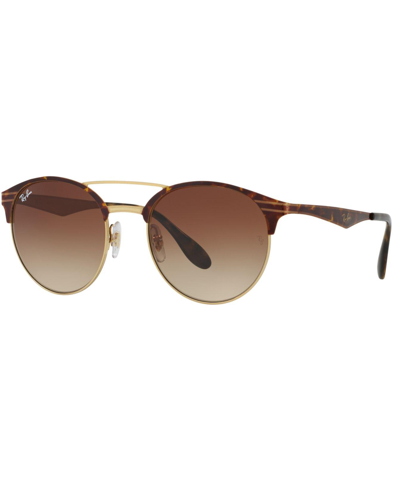 1b2f1ae3104 Ray-Ban. Women s Brown Highstreet Double-bridge Round Gradient Sunglasses