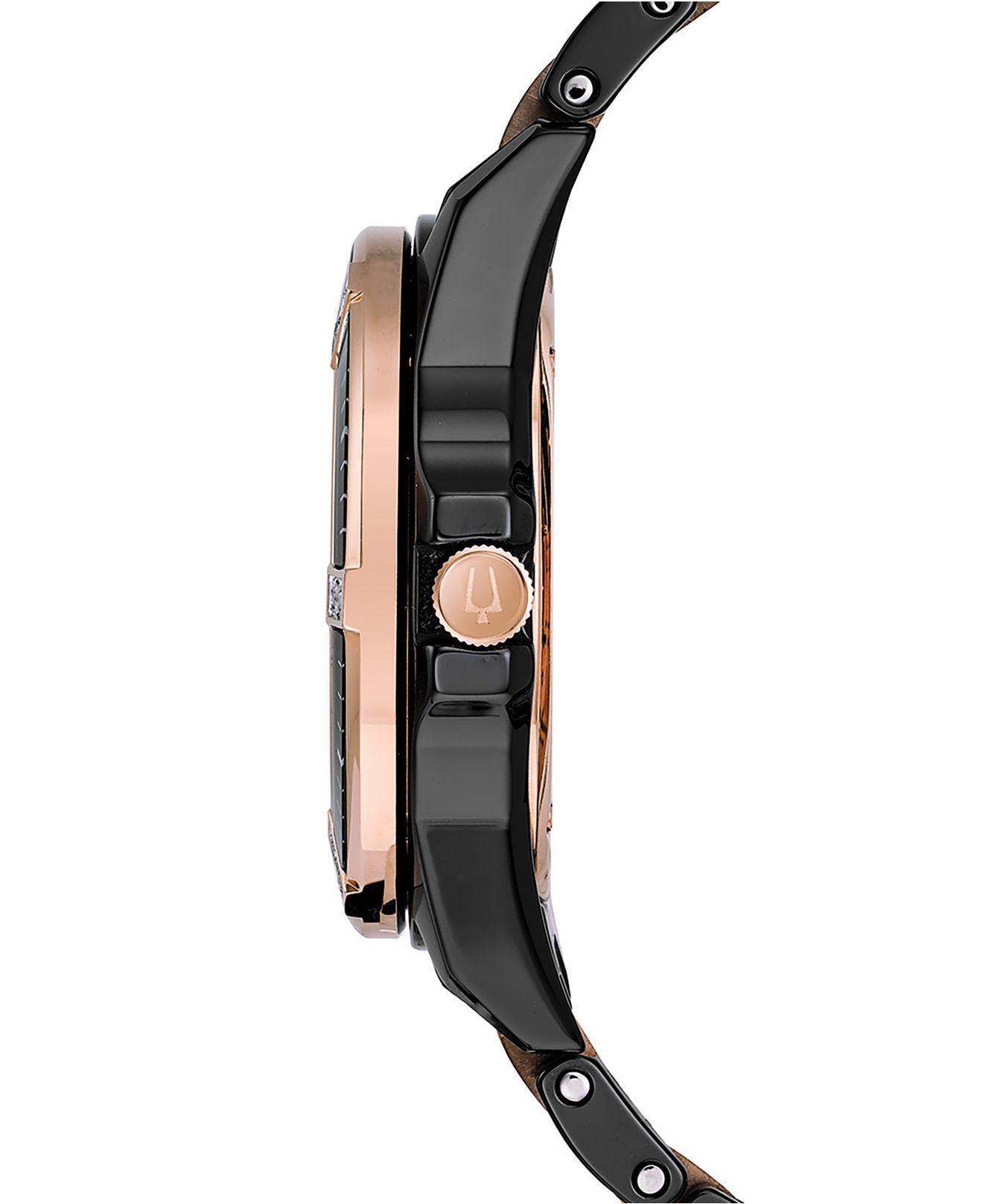 ce65839afba0 Bulova Women s Diamond-accent Marine Star Two-tone Ceramic Bracelet Watch  37mm in Black - Save 6% - Lyst