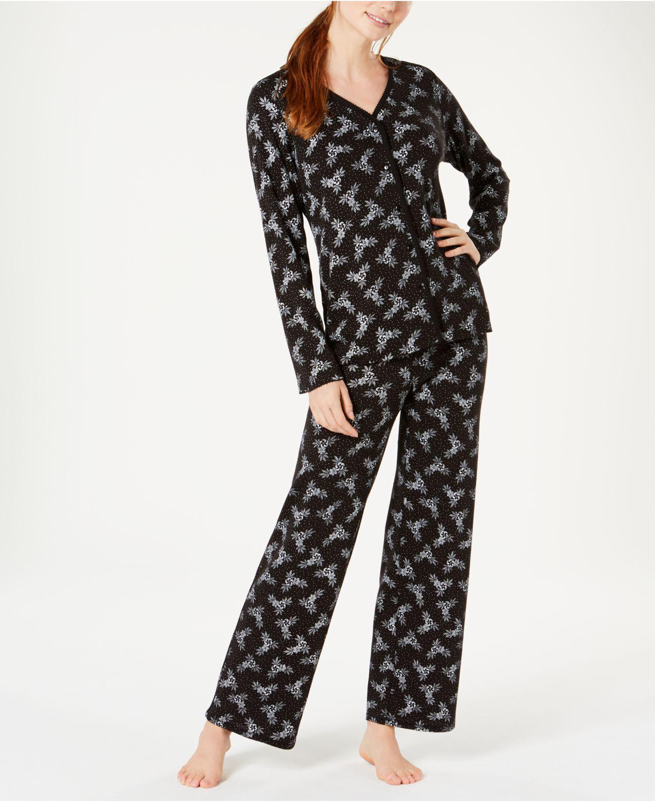 Charter Club. Women s Black Cotton Long Sleeve Button Front Pajama Set ... d56db8654