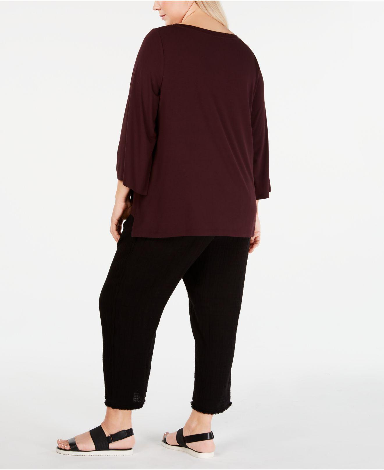 af6ef16597182 Lyst - Eileen Fisher Plus Size 3 4-sleeve Top