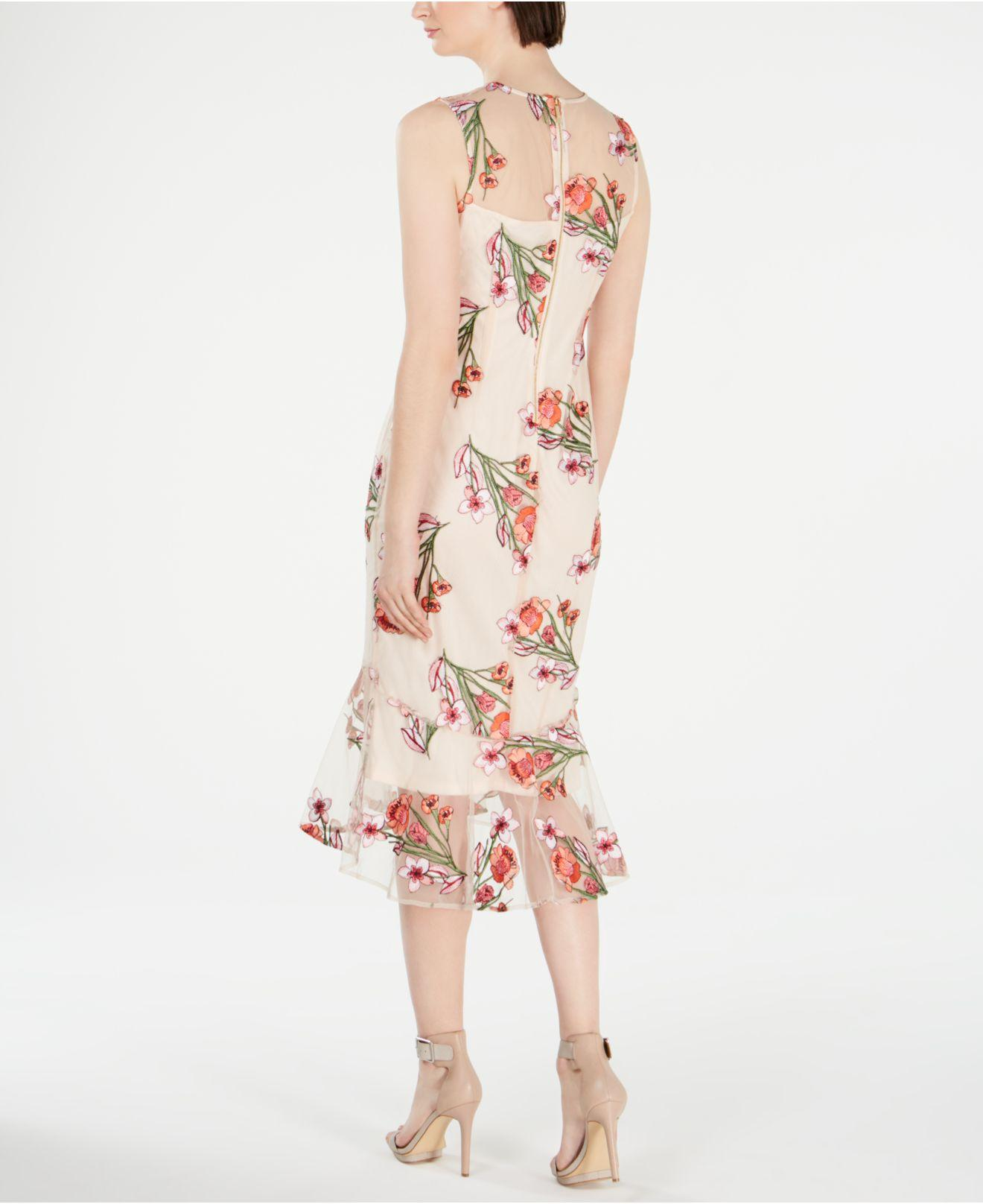 36c81b88ce3 Calvin Klein Floral-embroidered Trumpet Midi Dress in Pink - Lyst