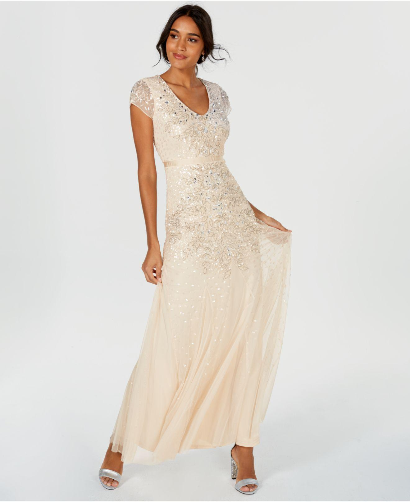 f226e8b3281f3 Lyst - Adrianna Papell Cap-sleeve Embellished Chiffon Gown in Natural