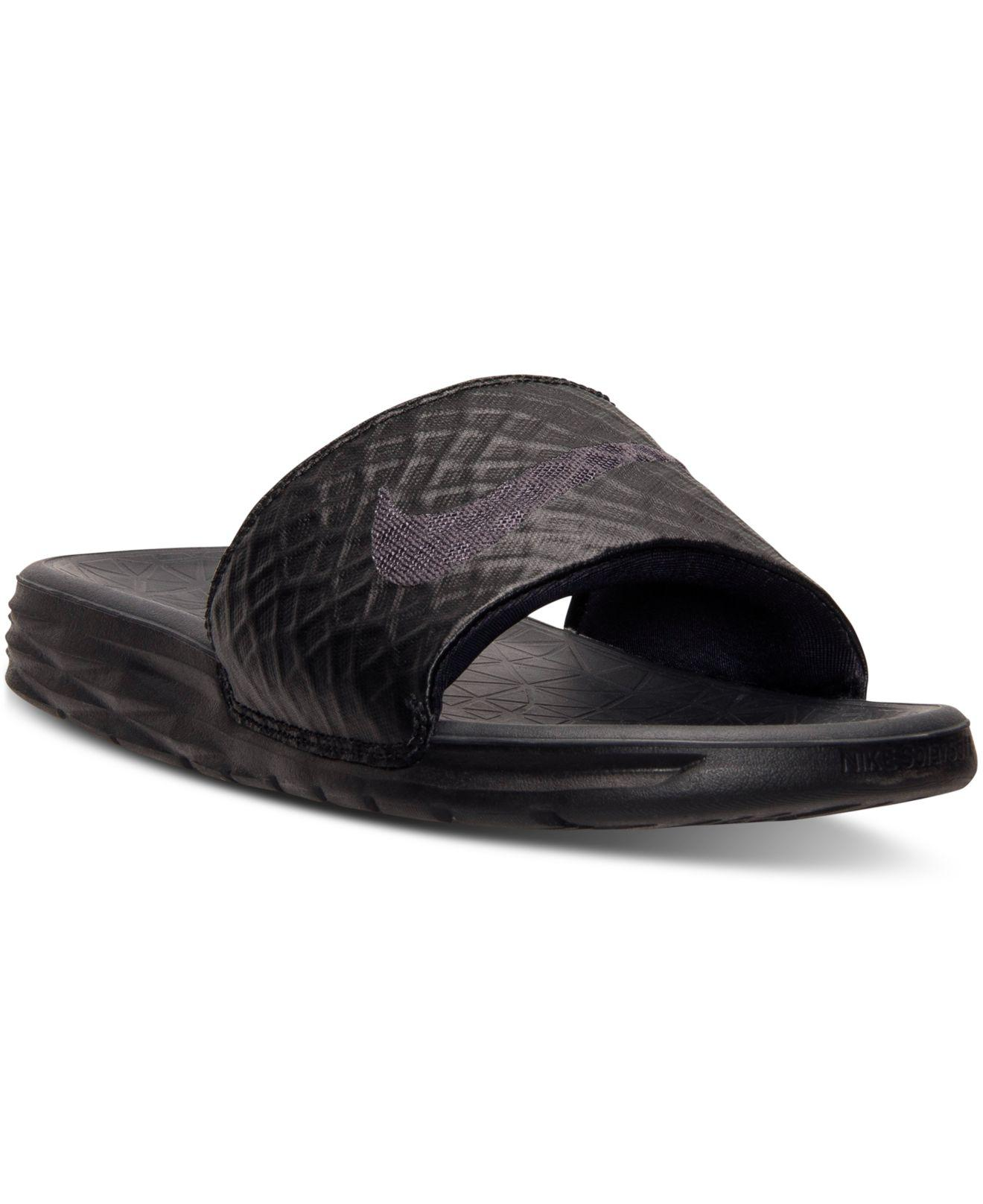 f49ca1656674 Lyst - Nike Benassi Solarsoft Black  Anthracite in Black for Men ...