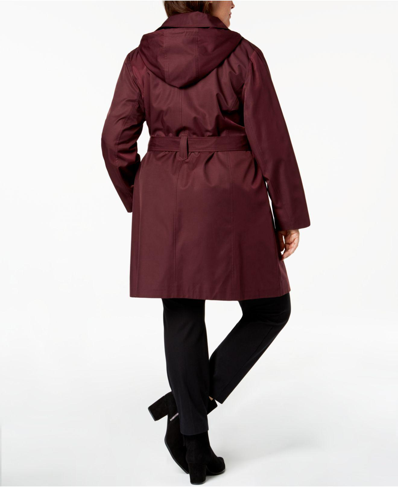 381db0be075 Michael Kors Michael Plus Size Asymmetrical Hooded Trench Coat in Red - Lyst