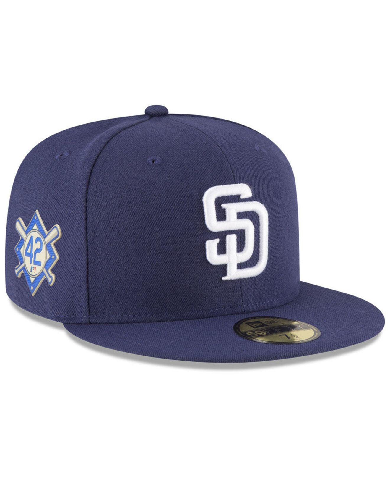 140c9ae5be3 KTZ. Men s Blue San Diego Padres Jackie Robinson Day 59fifty Fitted Cap