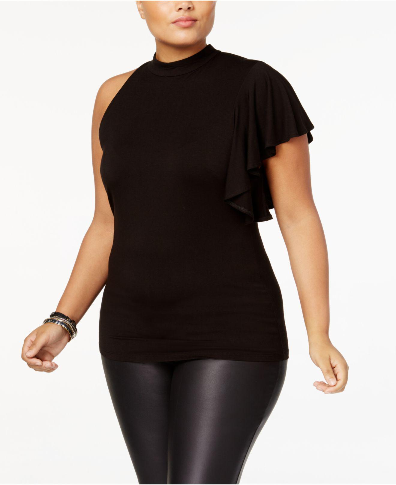 82c32e1761ae0 Lyst - Soprano Plus Size Ruffled-sleeve Top in Black