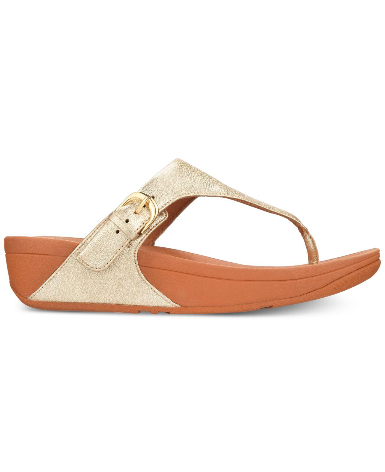 816698fa550 Lyst - Fitflop Skinny Toe-thong Wedge Sandals