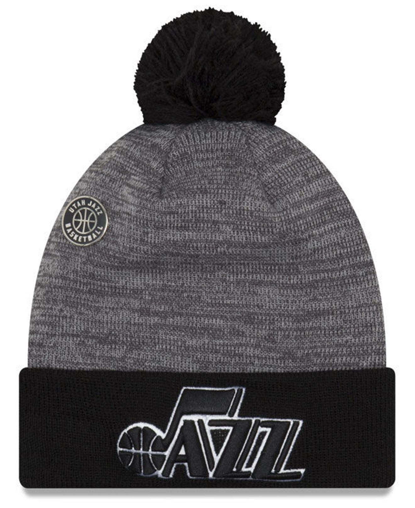 new products 9e77a 447c9 ... discount ktz. mens black utah jazz pin pom knit hat 8633f 94405