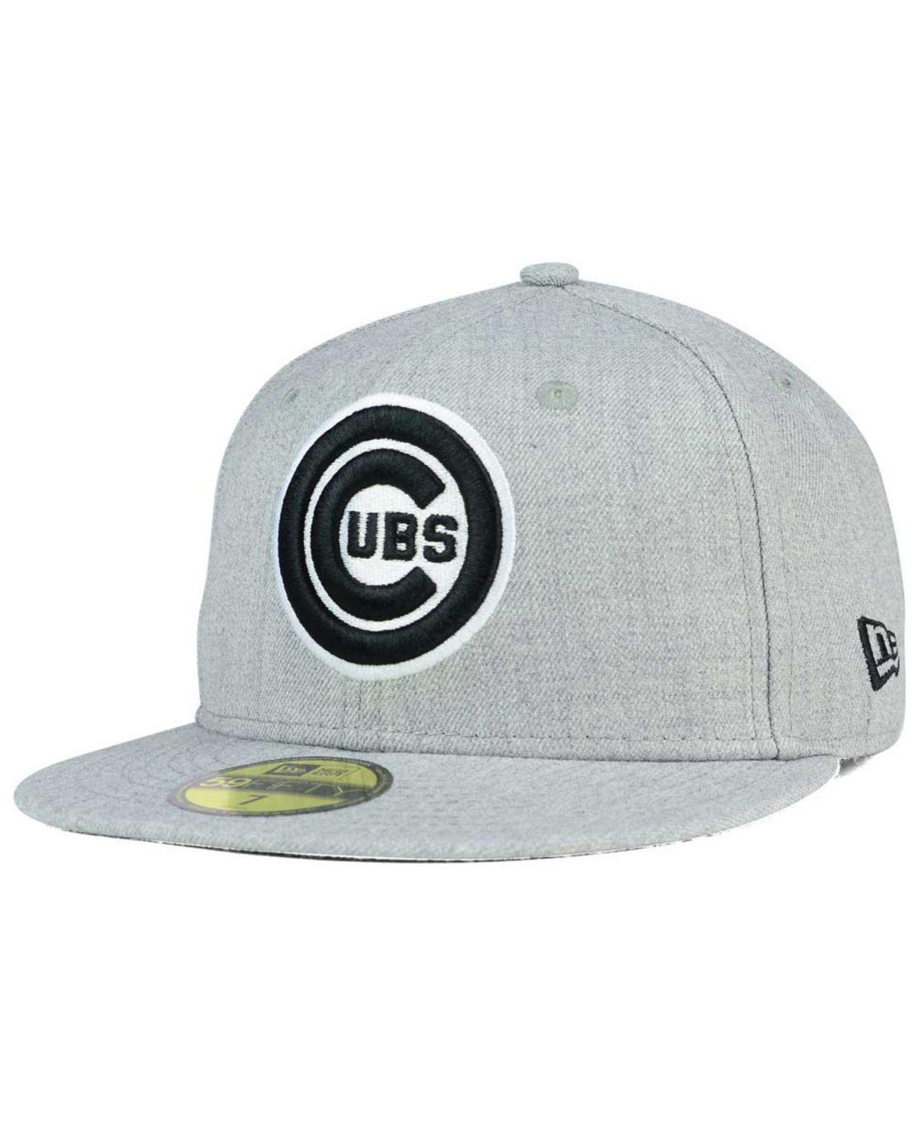 ba387fbcfae Lyst - KTZ Chicago Cubs Heather Black White 59fifty Cap in Gray for Men