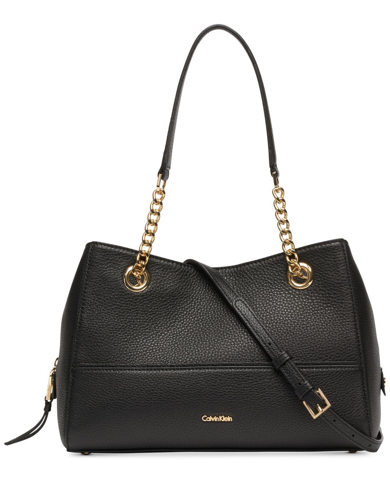 e7e4ef53e9b Calvin Klein Marie Leather Satchel in Black - Lyst