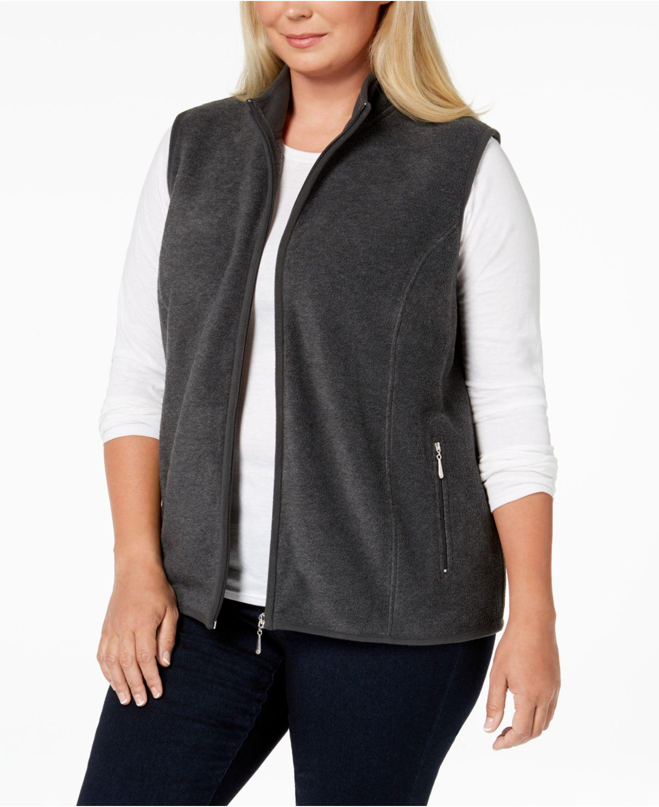 4bb2d0269d3b9 Lyst - Karen Scott Plus Size Zeroproof Fleece Vest in Gray