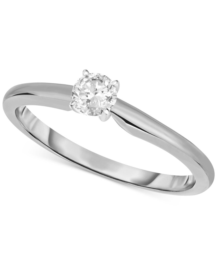 Macy s Engagement Ring Certified Diamond 1 3 Ct T w And 14k White