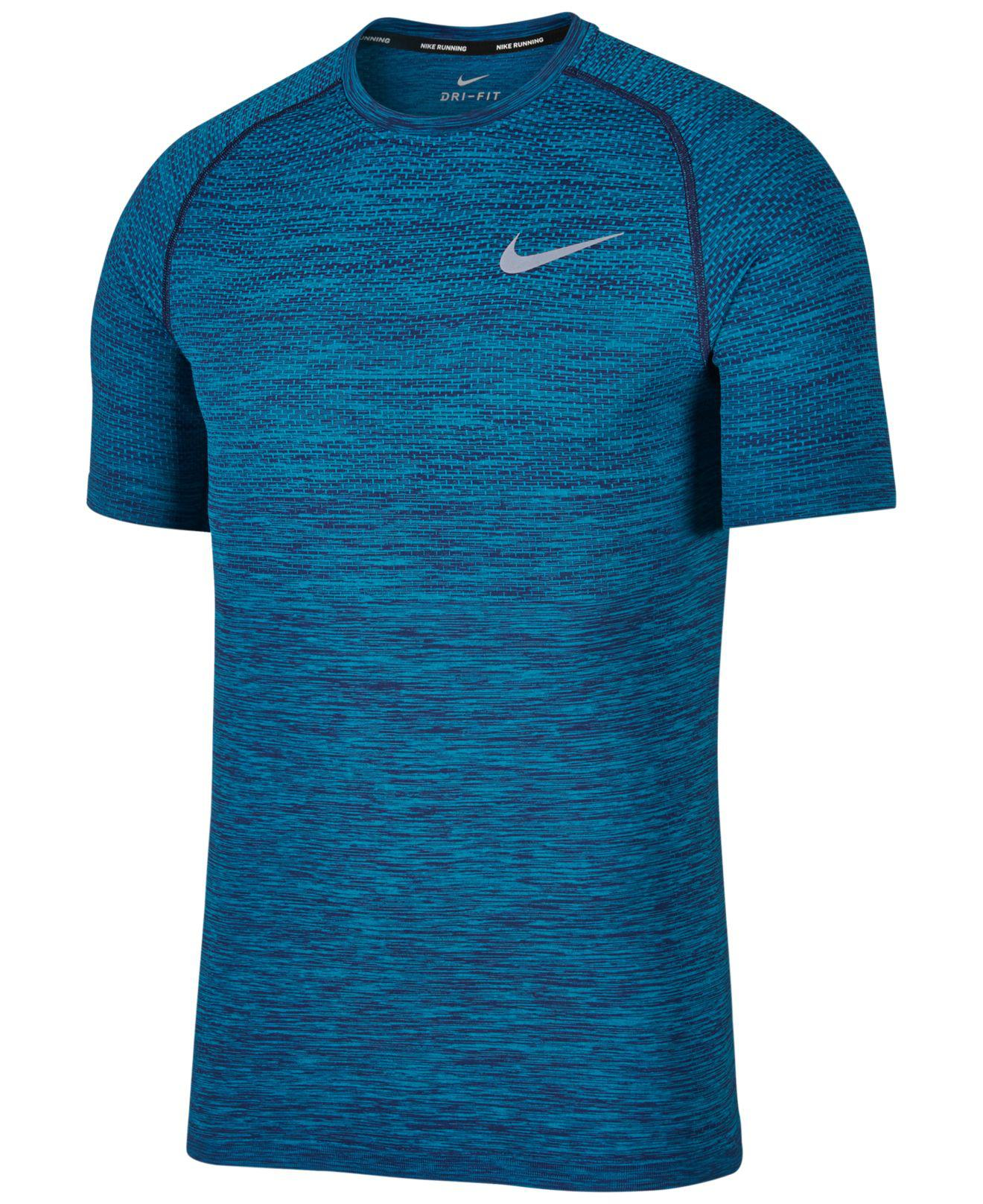 df583487a Nike Dry Knit Short Sleeve Printed Running Shirt in Blue for Men - Lyst