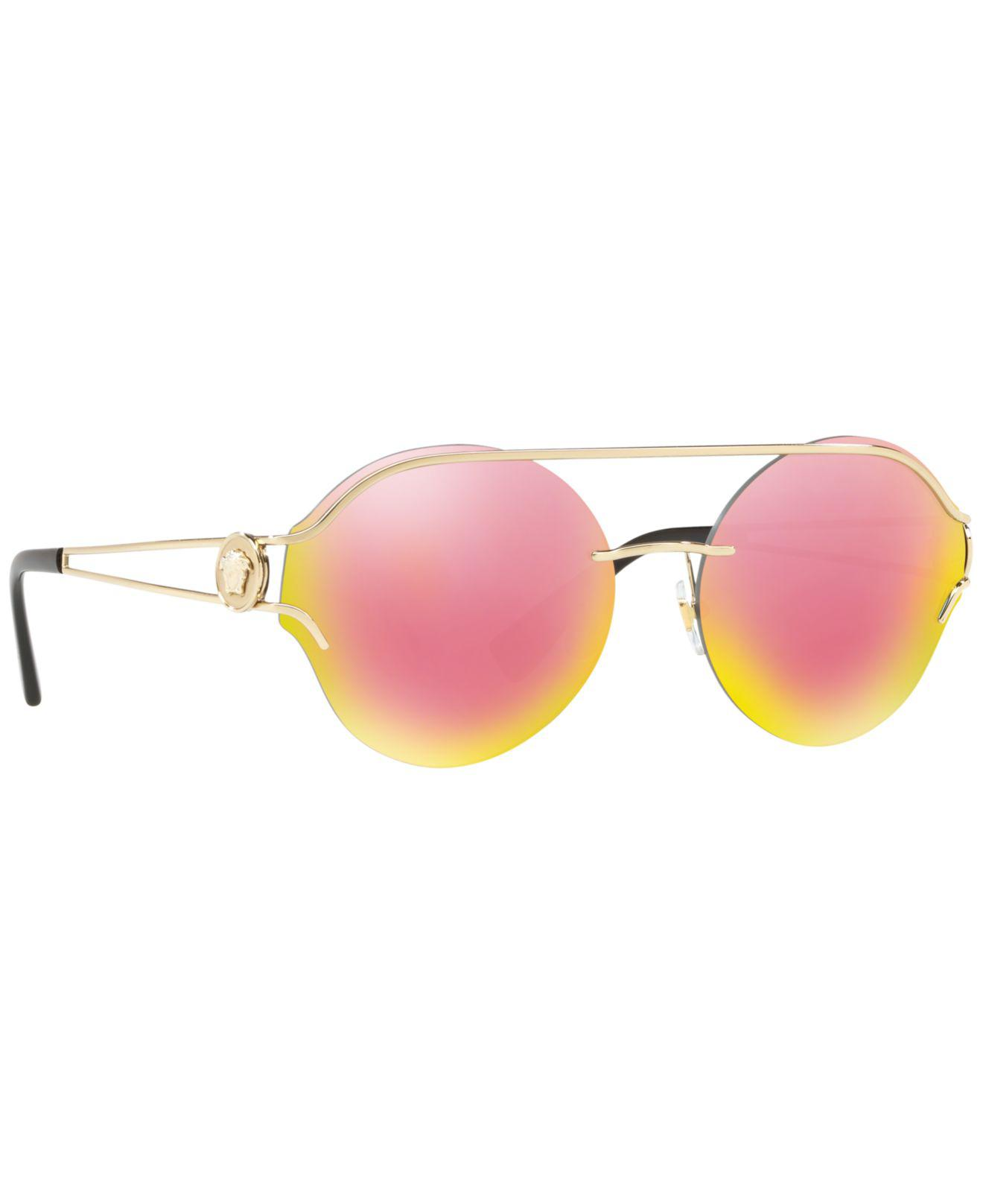 3a6b5908c6a51 Lyst - Versace Forked Metal Round Rimless Sunglasses