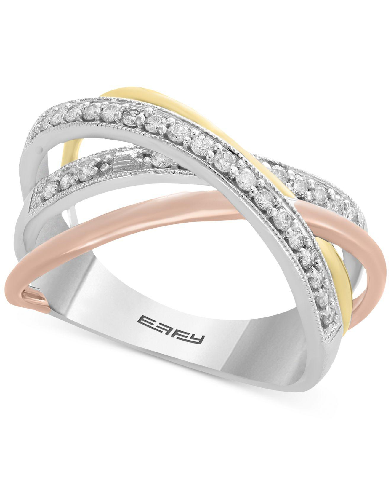 338a44946 Effy Collection Diamond Tri-color Overlap Ring (1/4 Ct. T.w.) In 14k ...