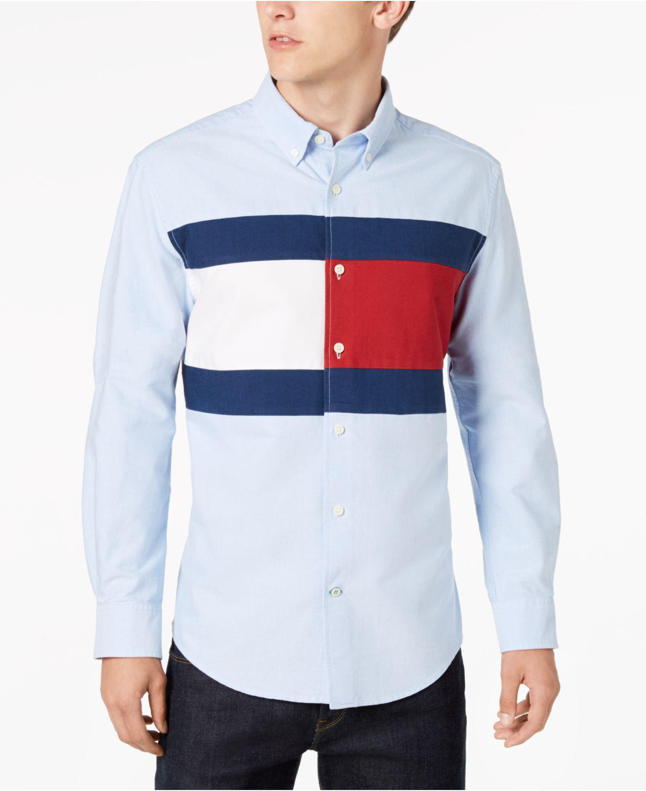 86935481 Tommy Hilfiger Pieced New England Colorblocked Custom Fit Shirt ...