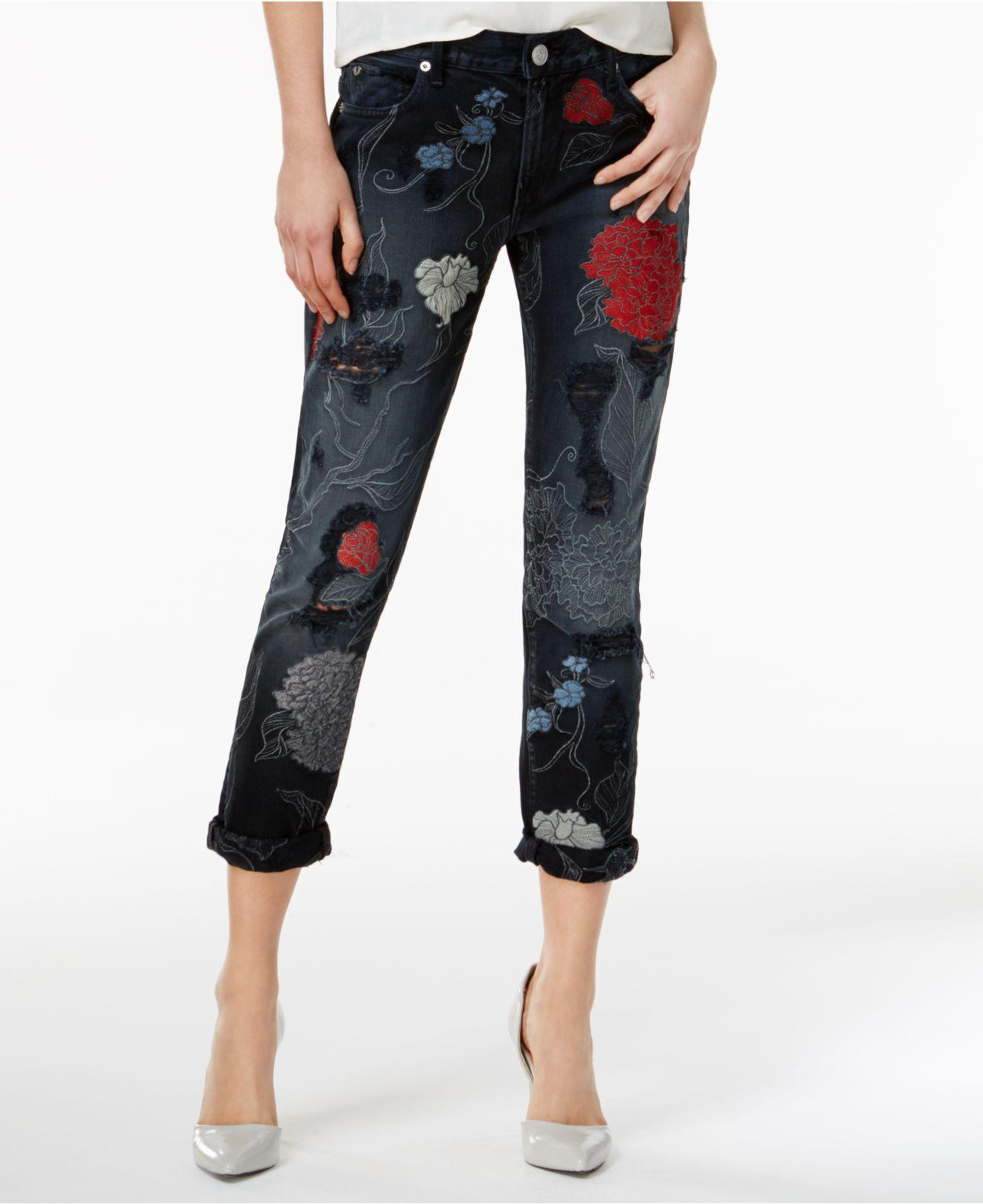 Lyst true religion audrey ripped embroidered slim