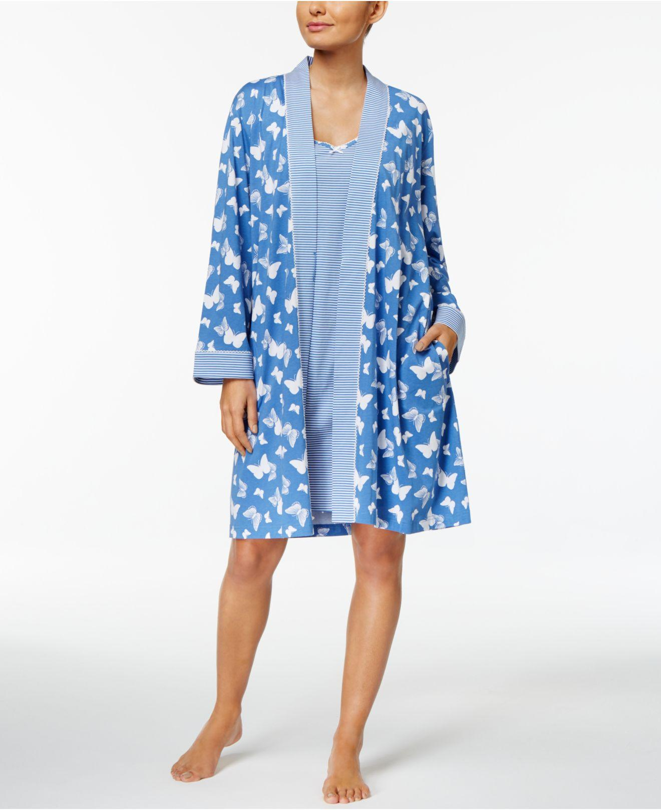 Charter Club Robe And Chemise Travel Set In Blue