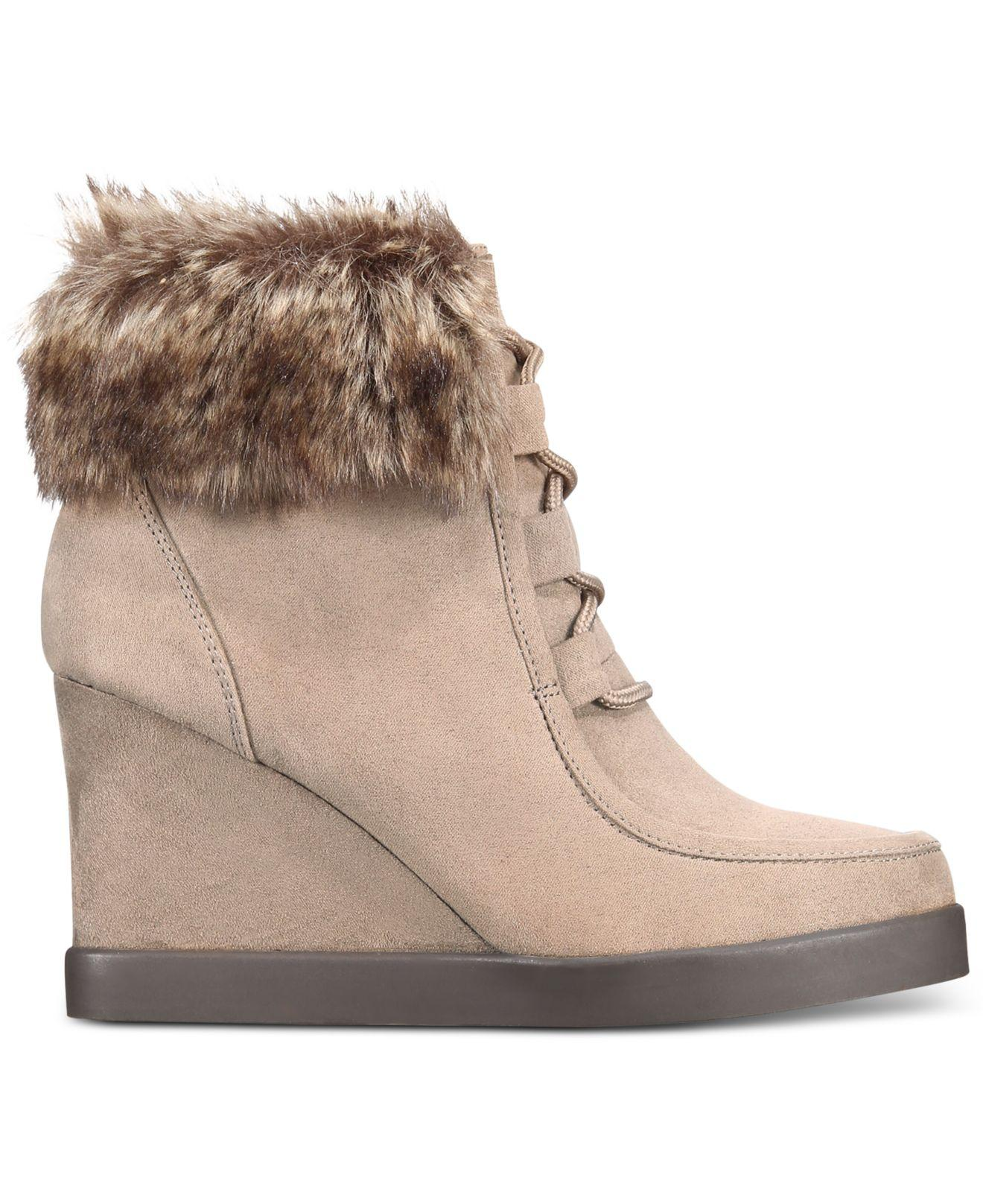 5236a910ef59 Lyst - Esprit Felice Memory Foam Wedge Booties in Brown