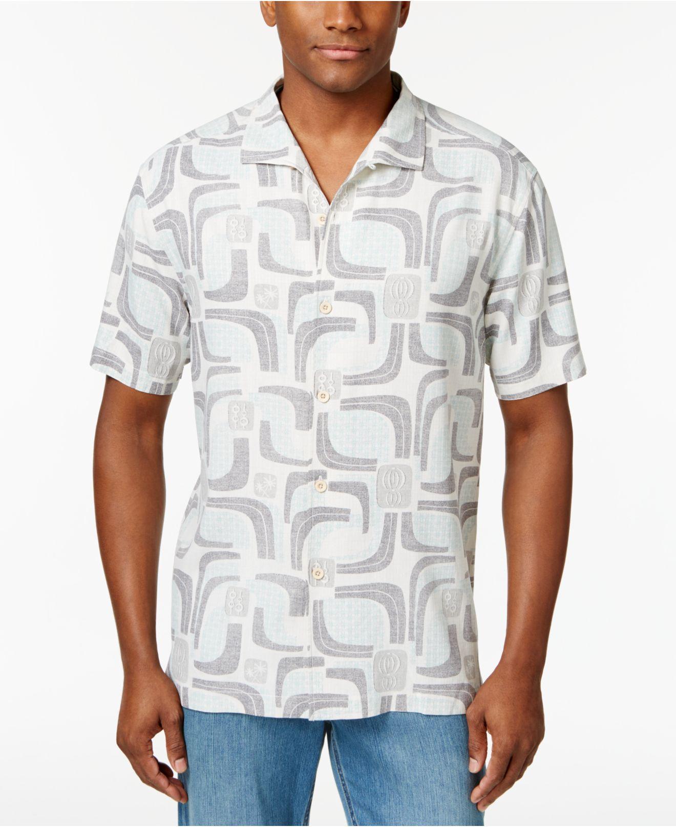 Tommy Bahama Men 39 S Miles Of Tiles Silk Shirt In White For