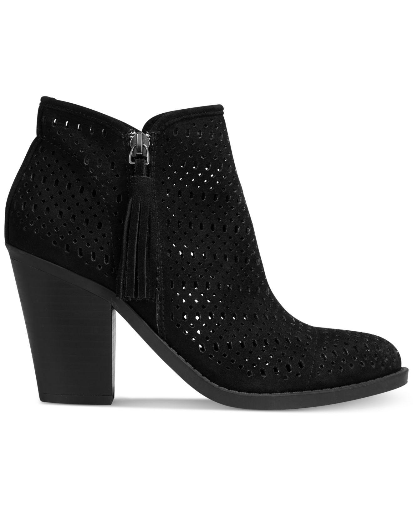 Lyst Esprit Kay Block Heel Perforated Booties In Black