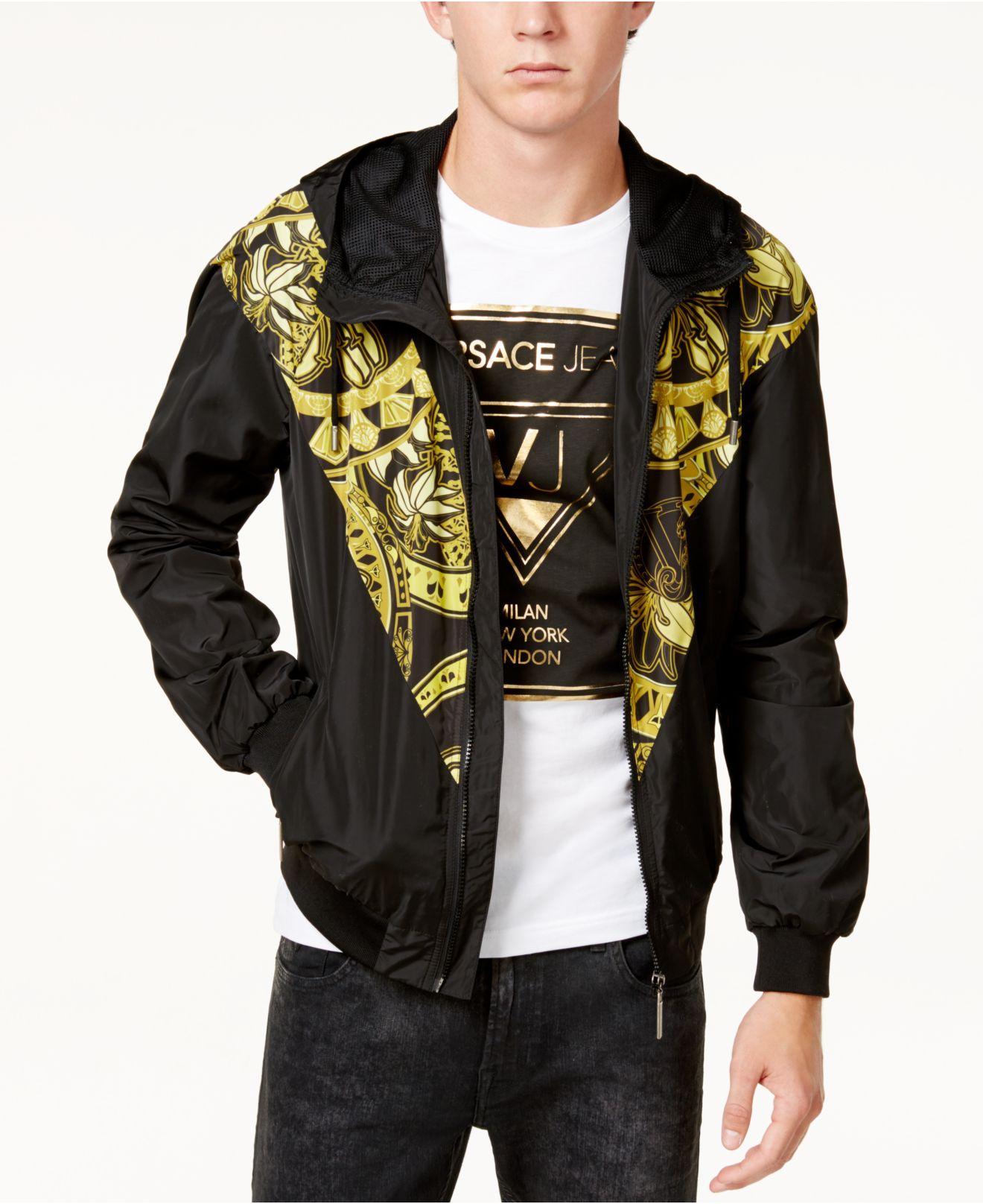 Lyst Versace Men S Black And Gold Hooded Windbreaker In