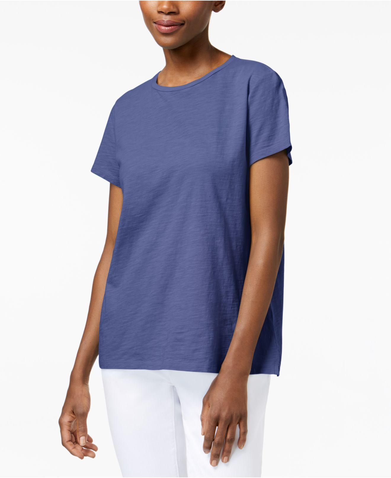 lyst eileen fisher organic cotton t shirt in blue