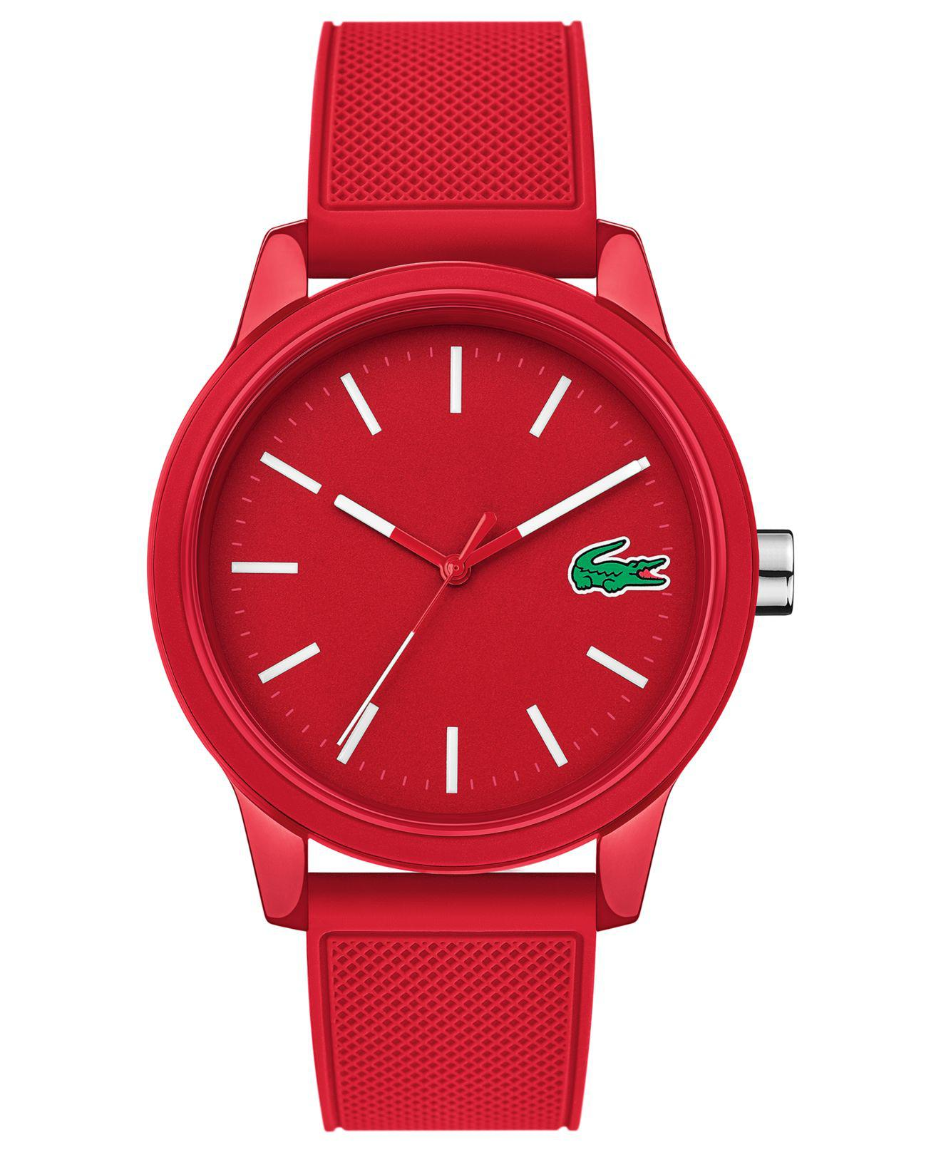 Lacoste. Men's 12.12 Red Silicone Strap Watch 42mm