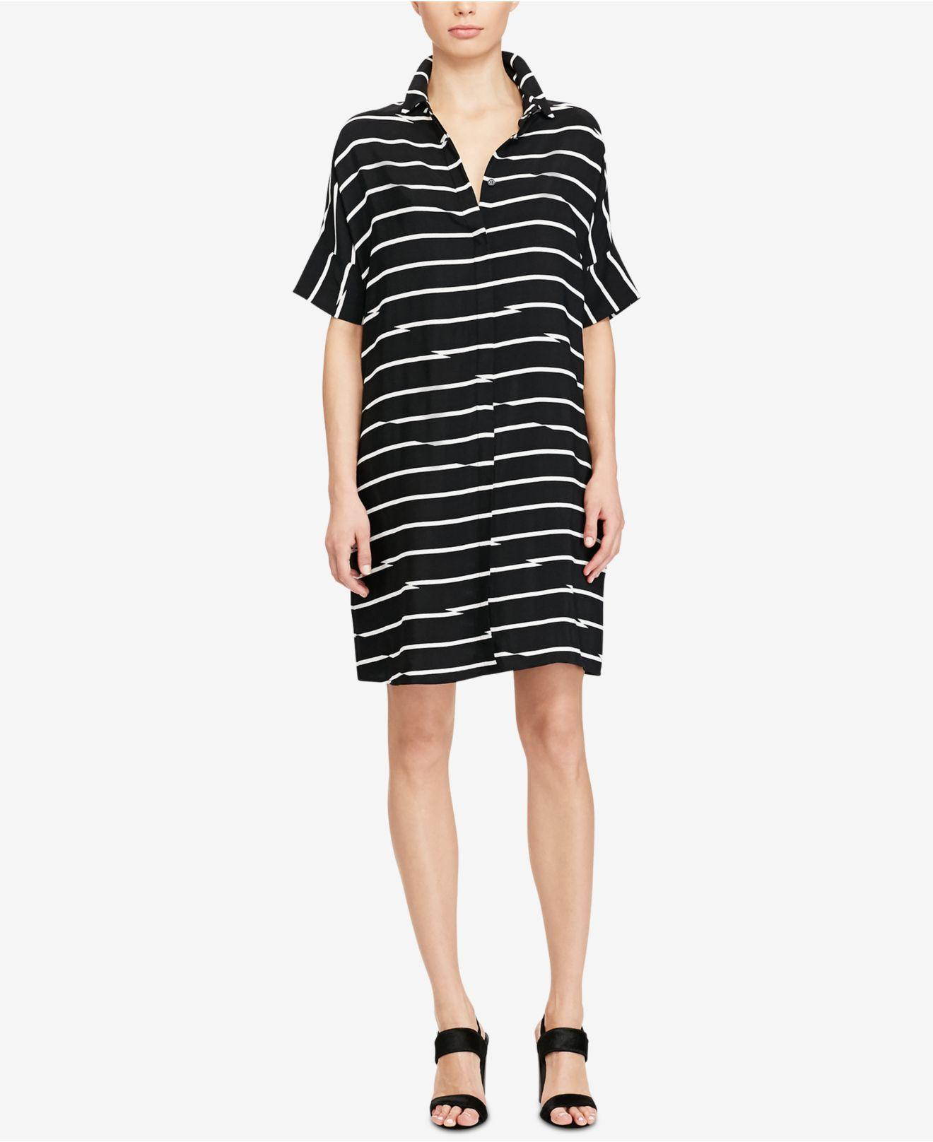 Lyst American Living Striped Twill Shirtdress In Black