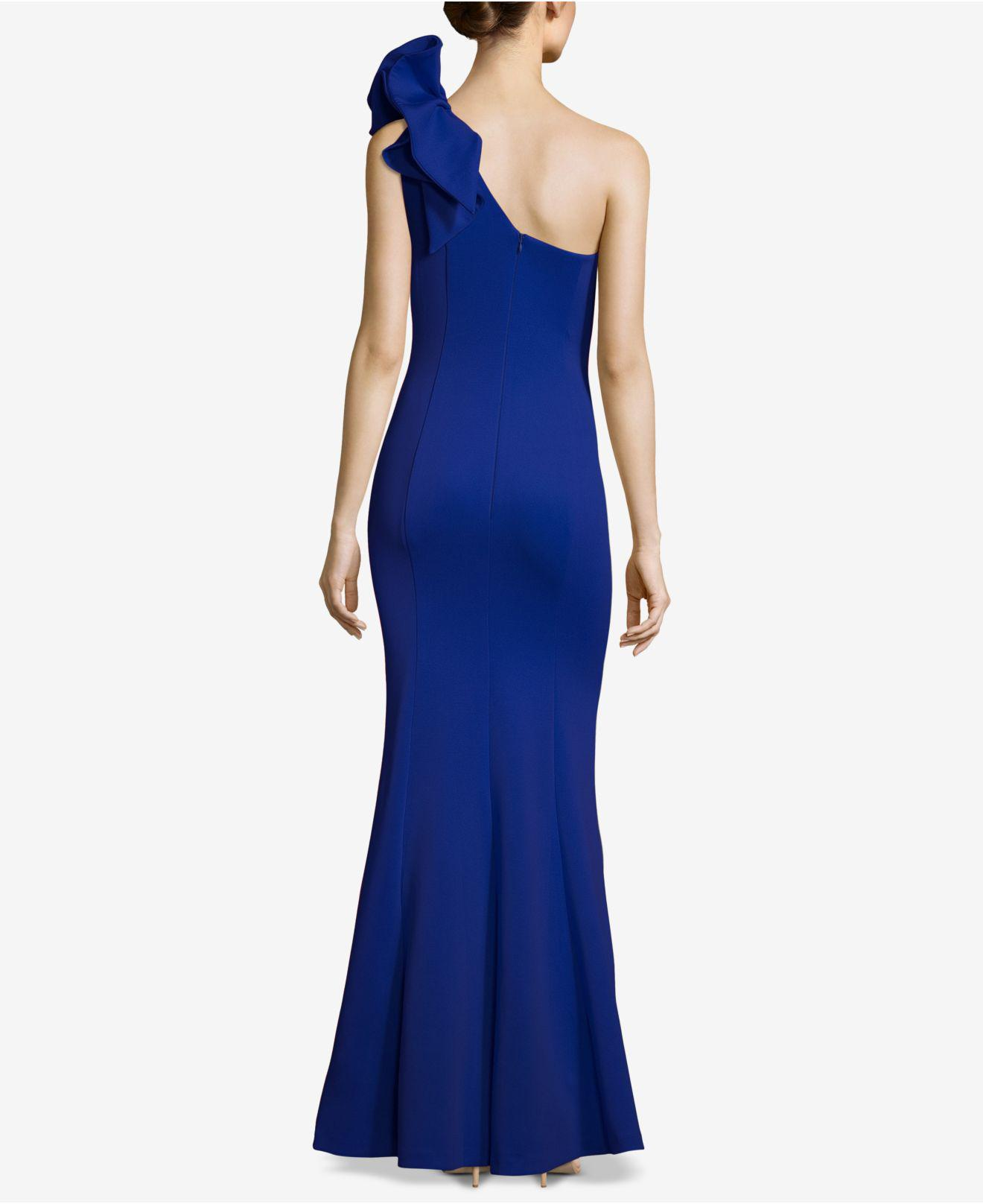 55d5538d Betsy & Adam One-shoulder Ruffled Scuba Gown in Blue - Save 15% - Lyst