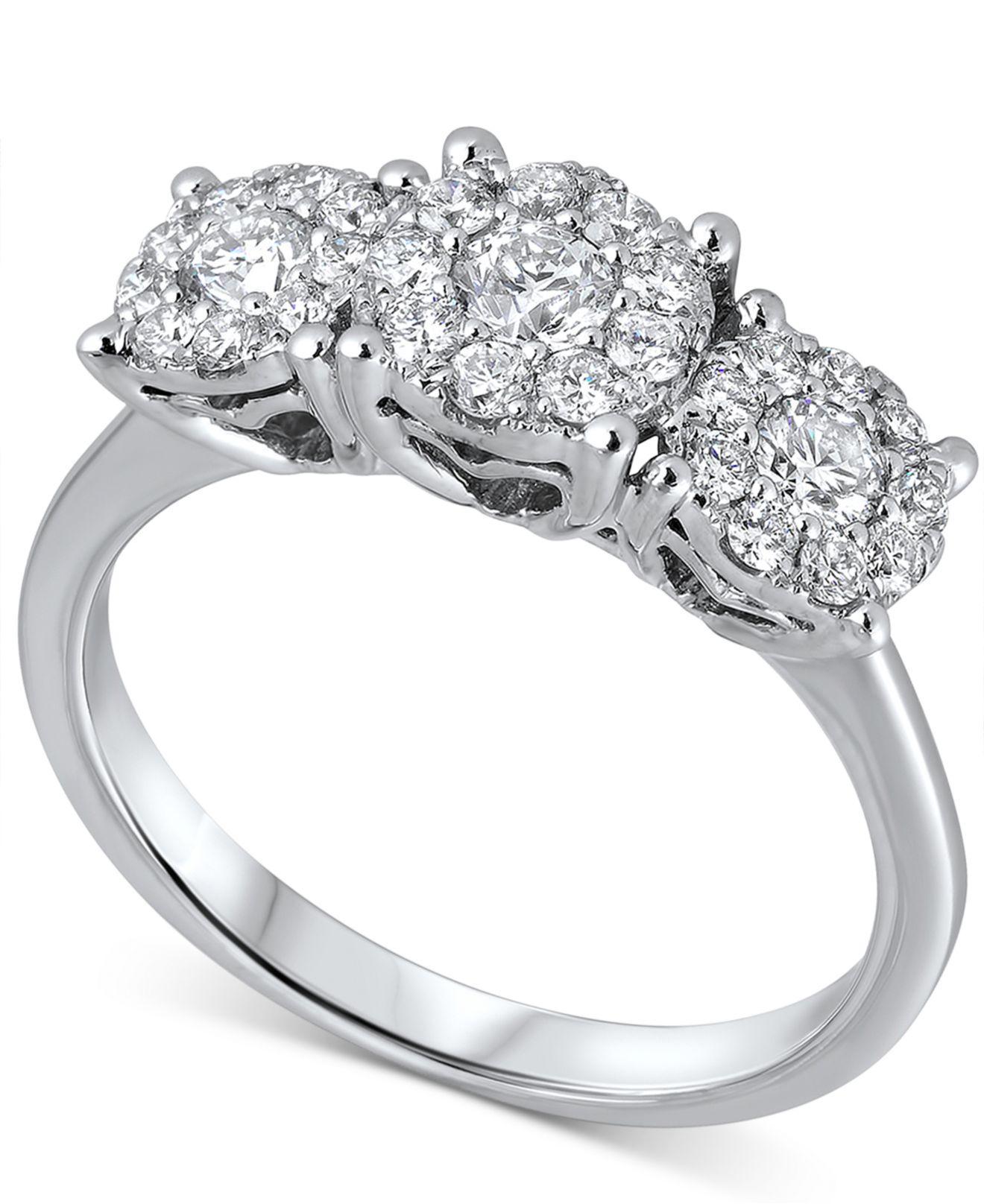 Macy's Diamond Triple Cluster Ring (3/4 Ct. T.w.) In 18k