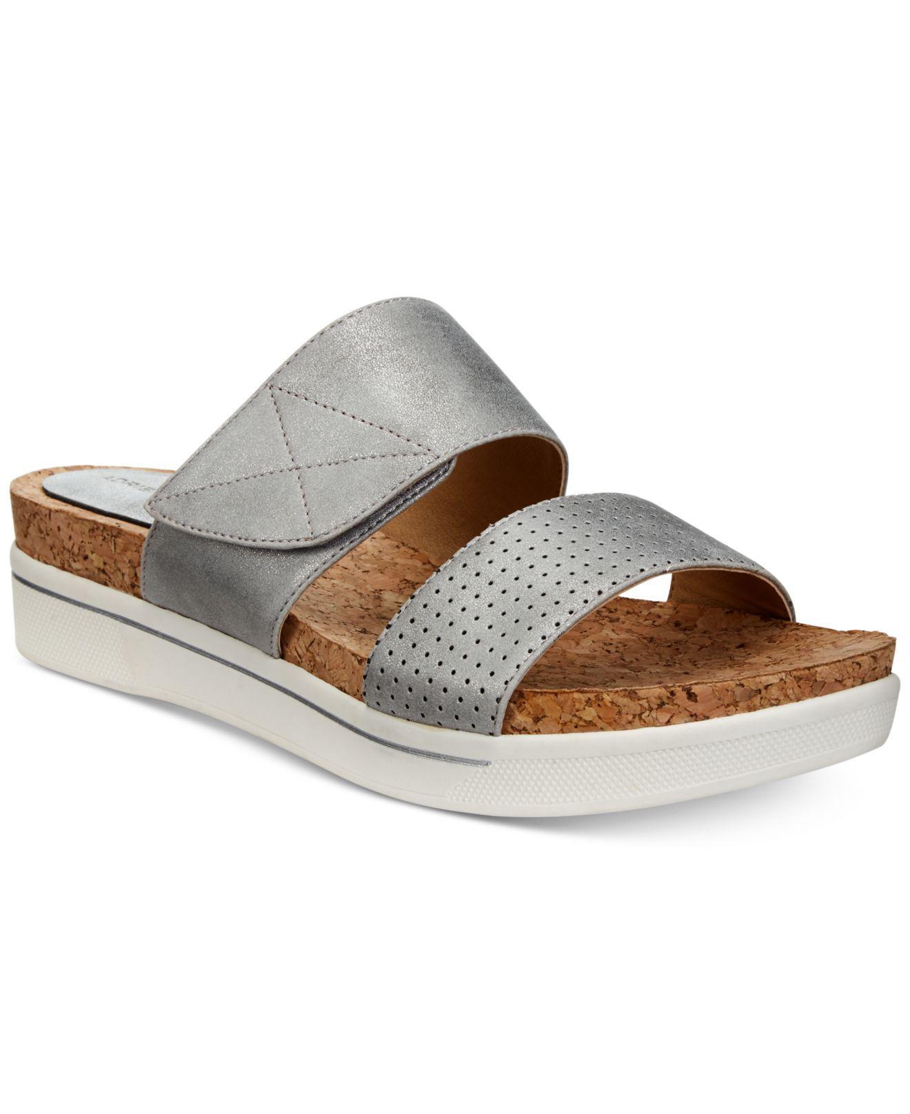 8a95e20227af Lyst - Adrienne Vittadini Calais Flat Sandals in Metallic