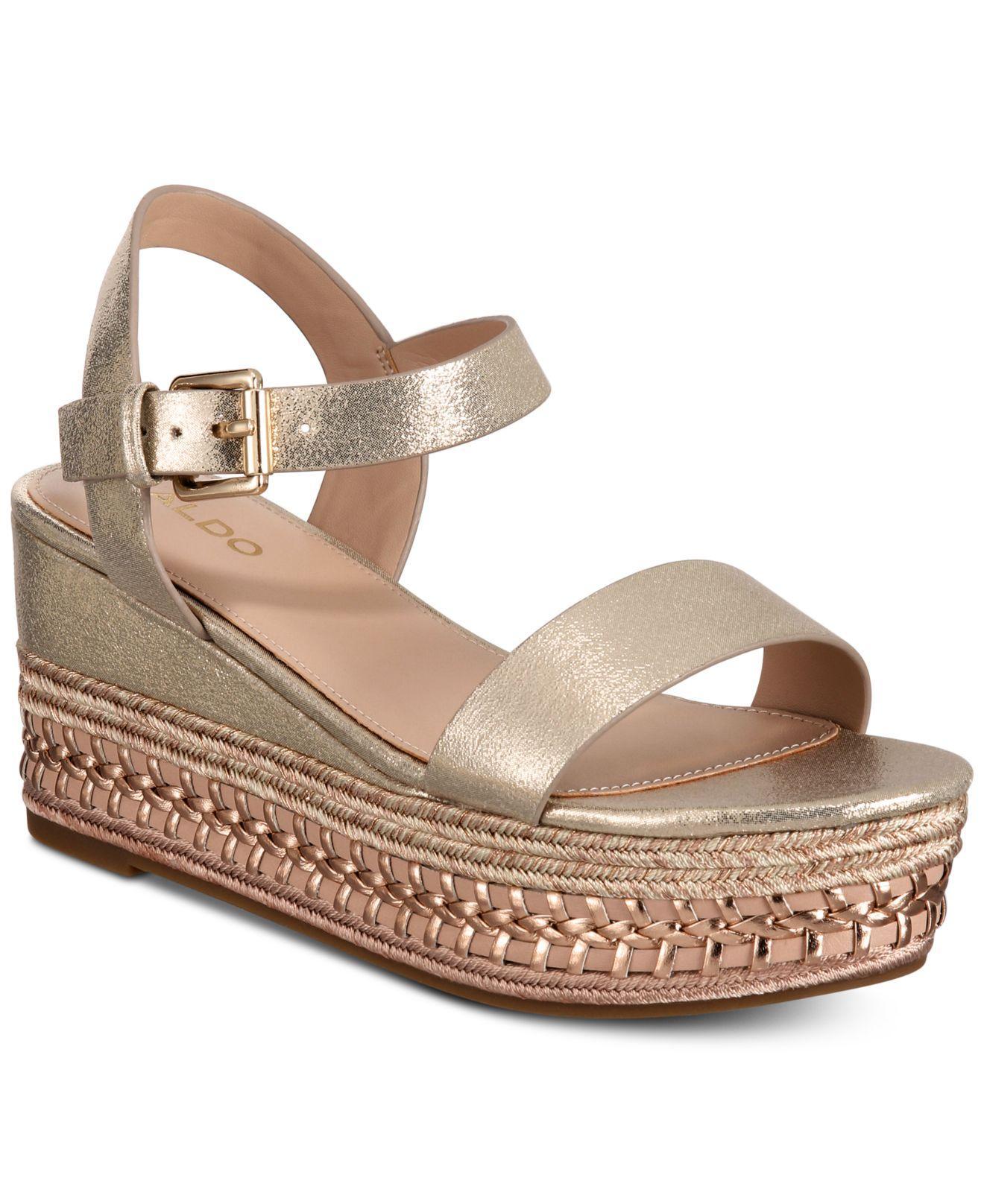 568946576a14 ALDO - Metallic Mauma Wedge Sandals - Lyst. View fullscreen