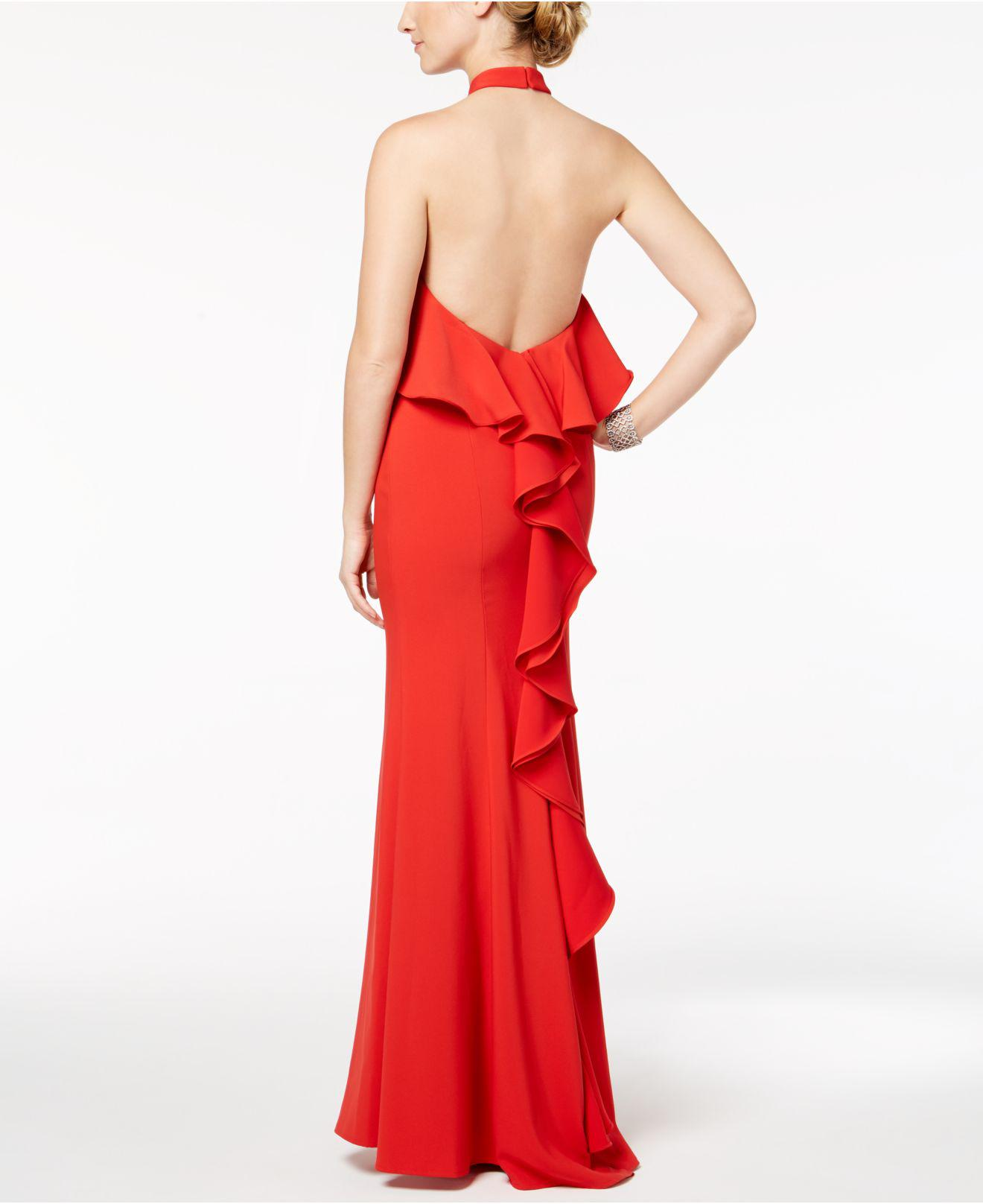 59ae9933 Xscape Popover Ruffle-back Halter Gown in Red - Lyst