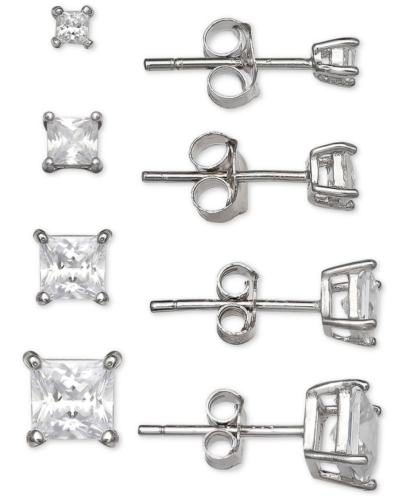 148fc1fdc Giani Bernini. Women's Metallic 4-pc. Set Cubic Zirconia Princess Stud  Earrings In Sterling Silver ...