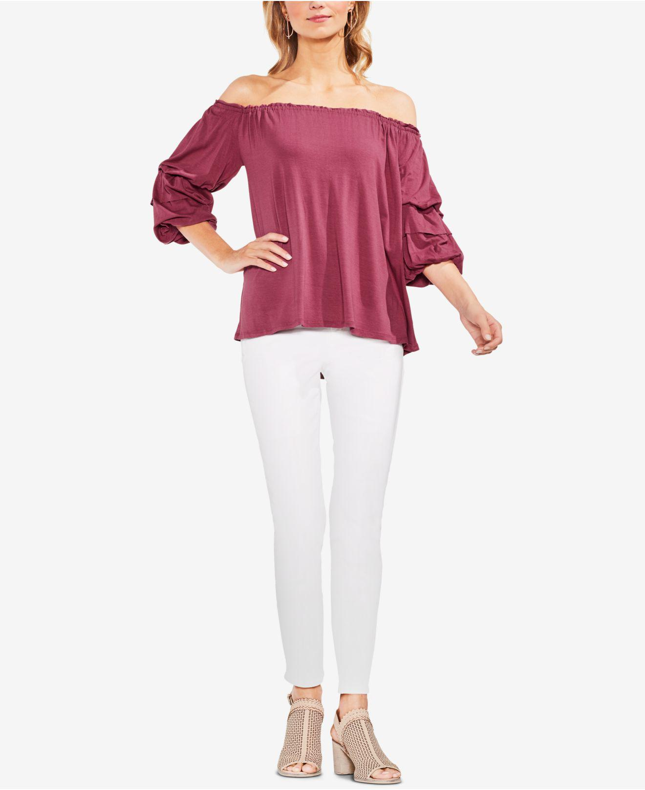 0653a64ff991f Lyst - Vince Camuto Off-the-shoulder Bubble-sleeve Top in Pink